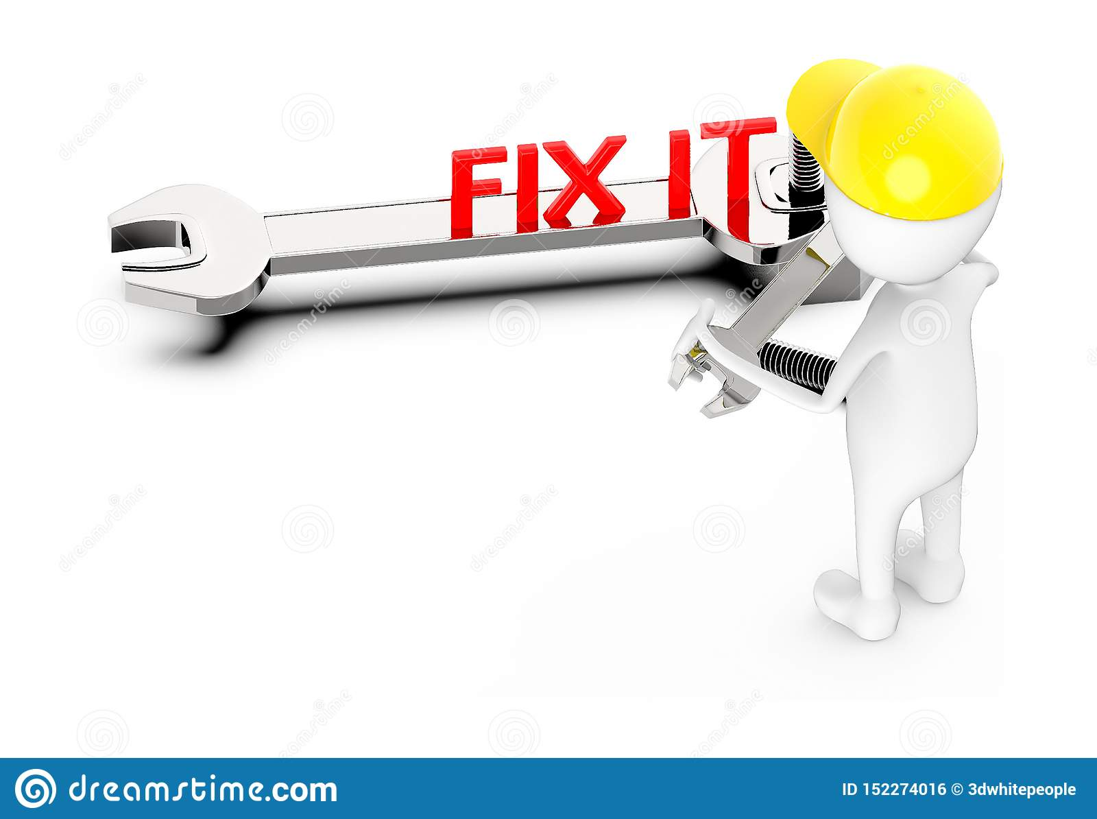 3d white guy , wear safety helmet and hold wrench -fix it concept