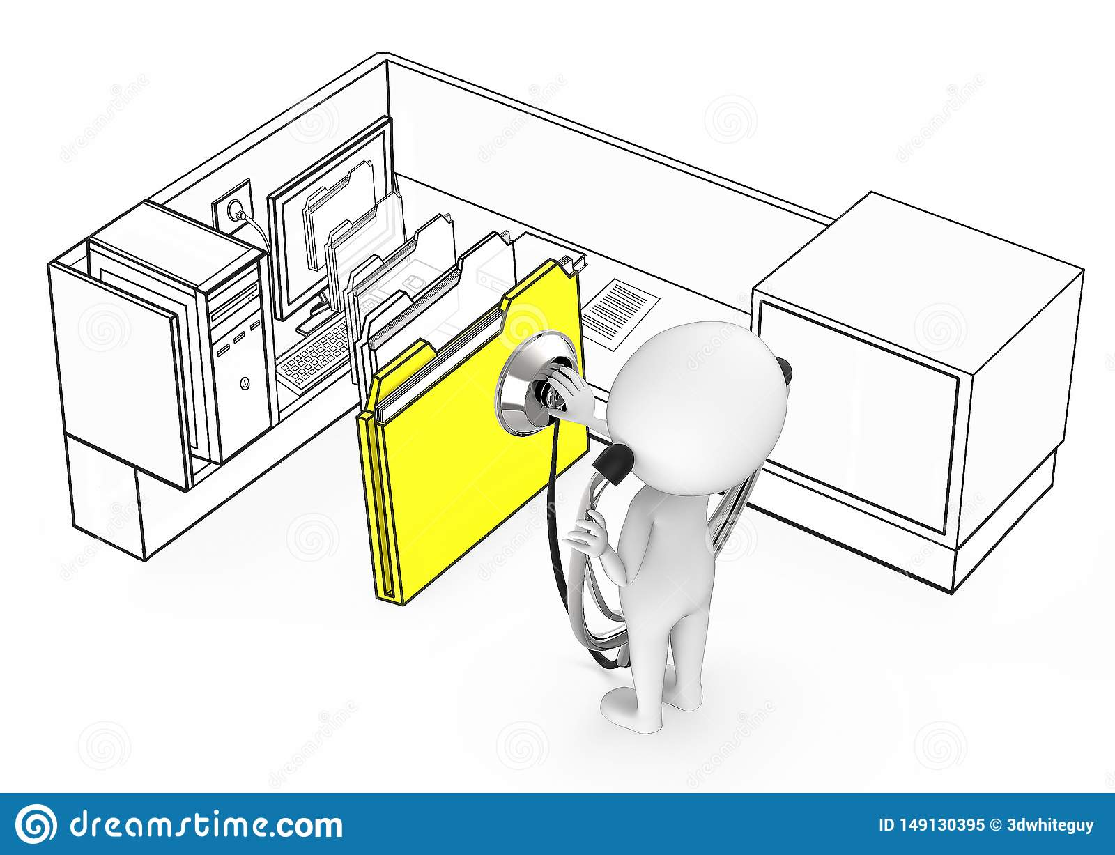 3d white guy wearing stethoscope and diagnosing file folder coming out from a monitor of a computer inside a office cubicle