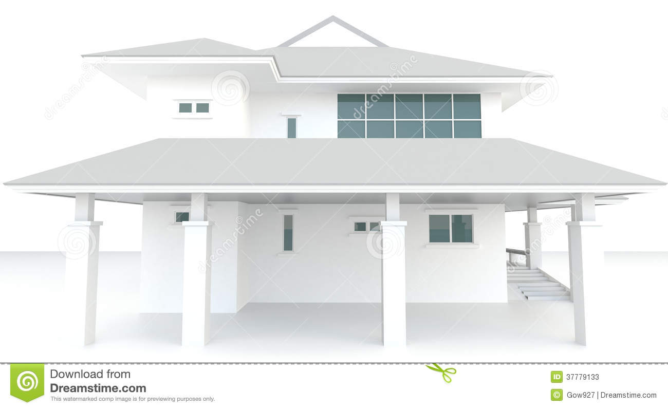 3d white house architecture exterior design in whi stock for White design homes