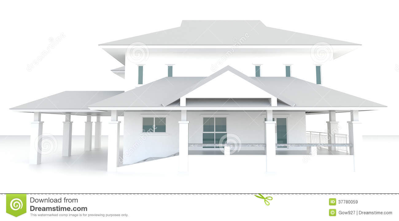 3d white house architecture exterior design in white for Architecte plan maison