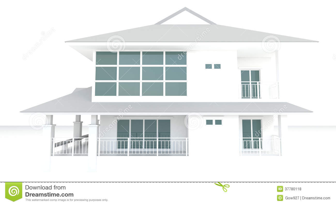 3D White House Architecture Exterior Design In White Background ...