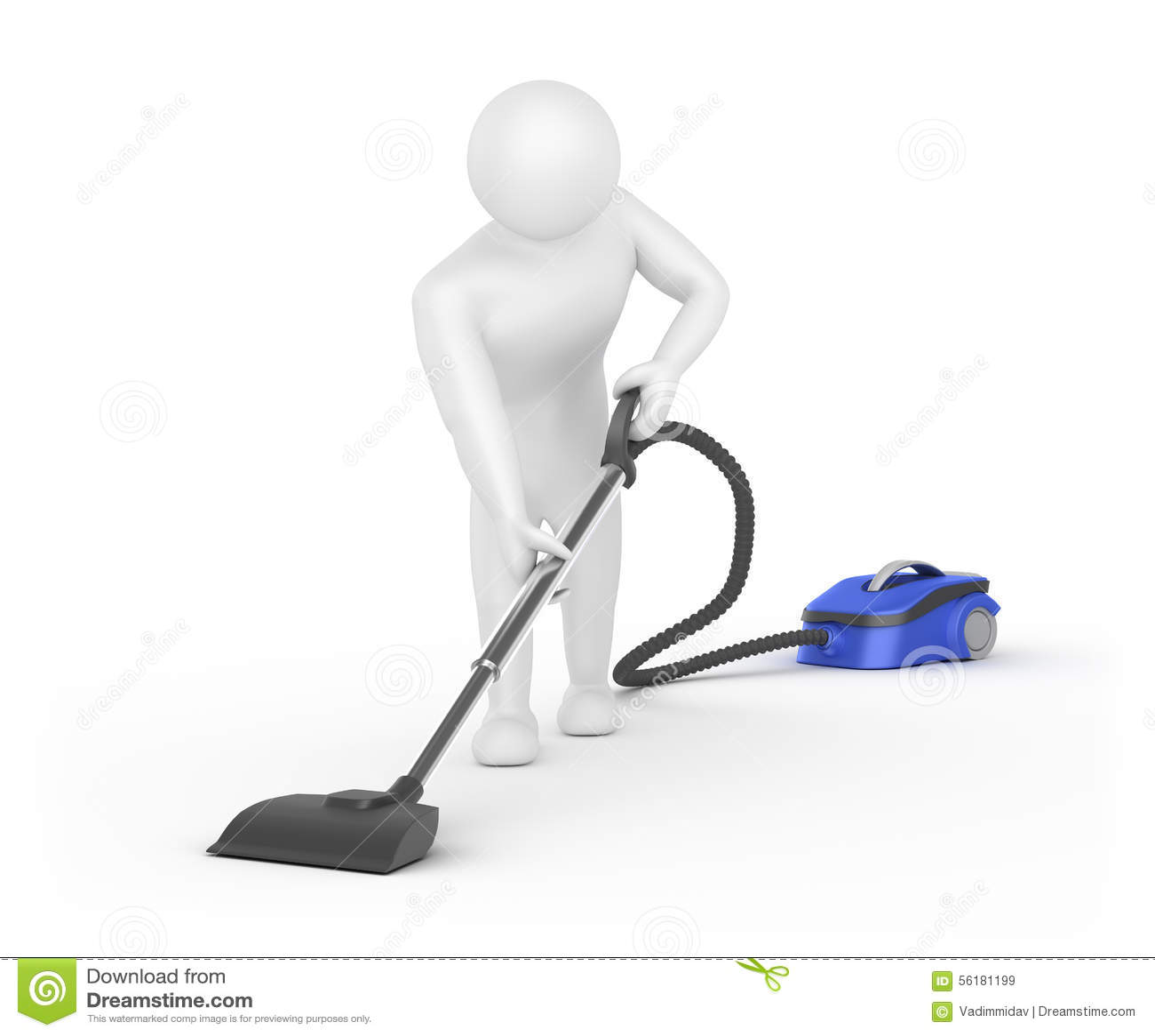 3d White Man Cleaner Stock Illustration Image Of Indoor
