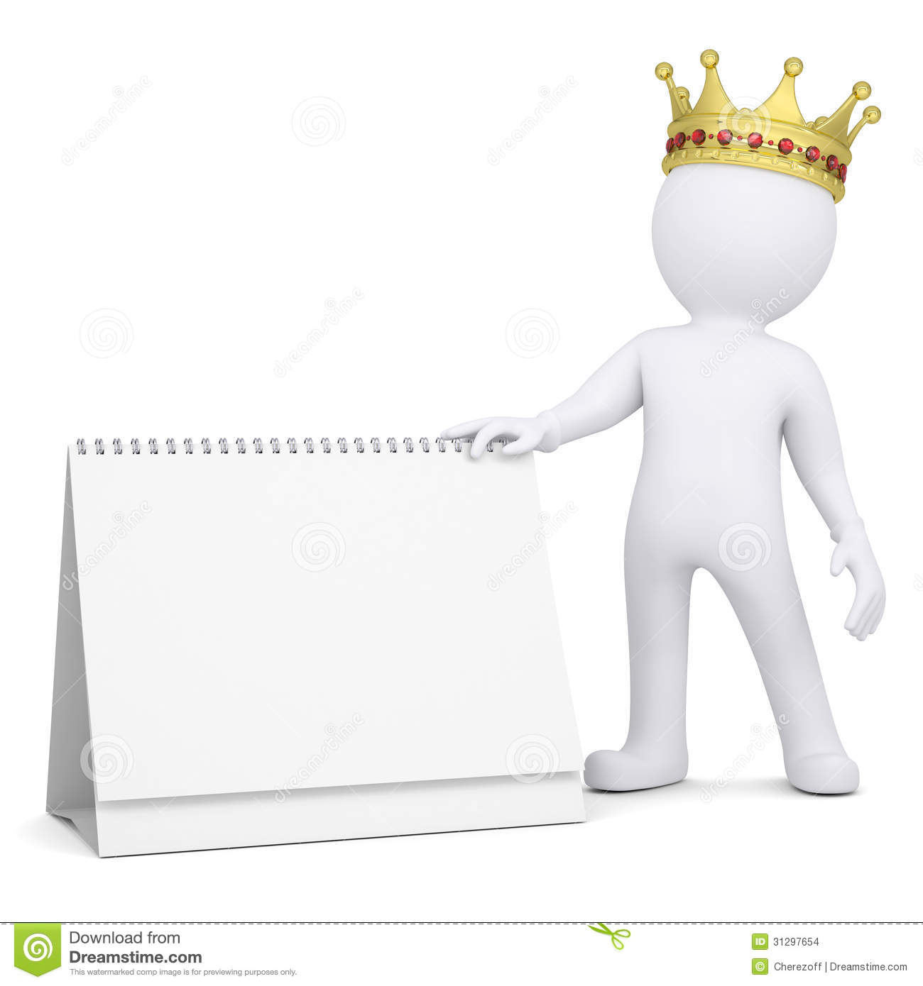 3d White Man With A Crown Holding A Desk Calendar Stock