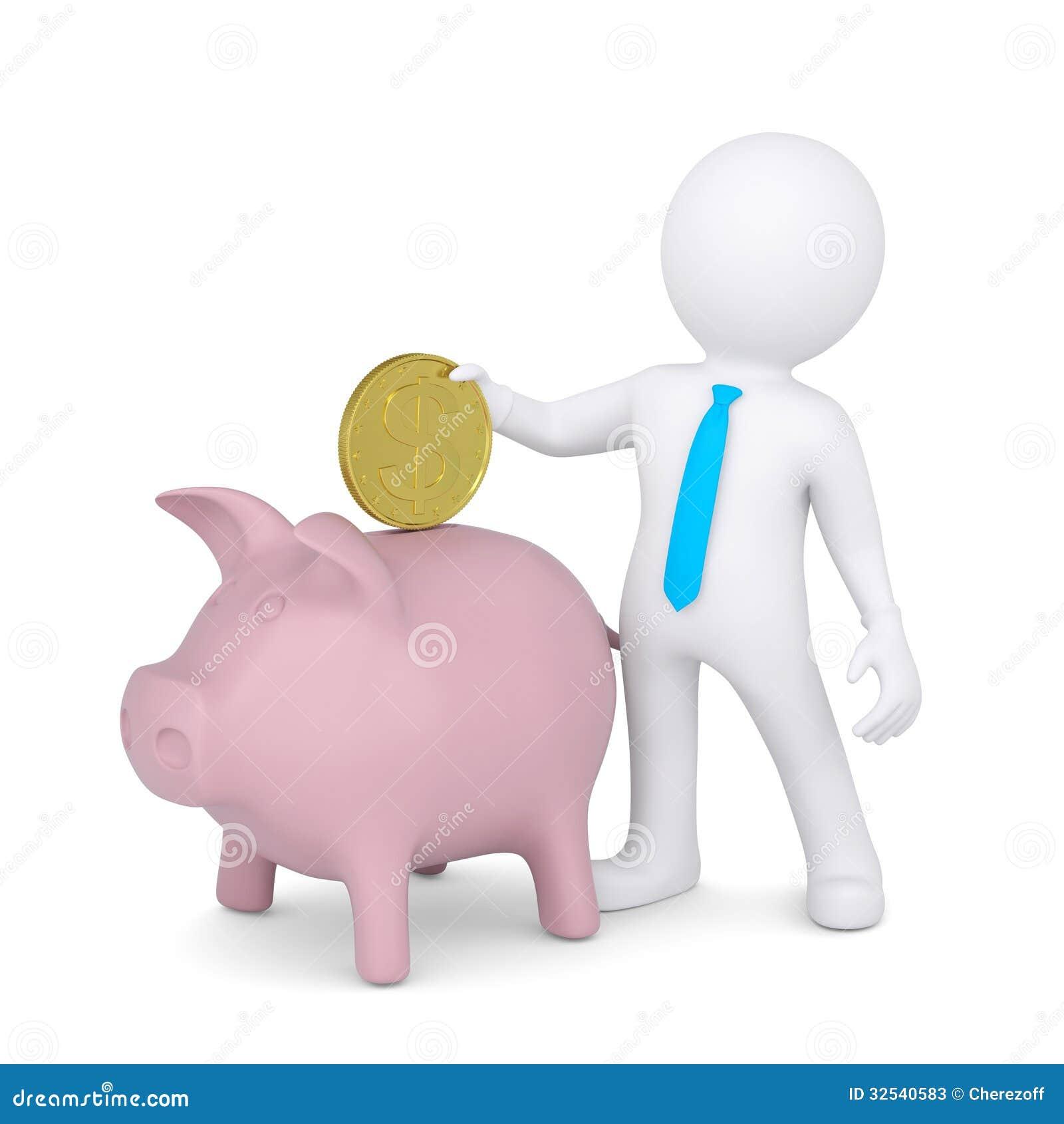 3d white man drops a coin into the piggy bank stock photos piggy clipart images clipart piggy bank images