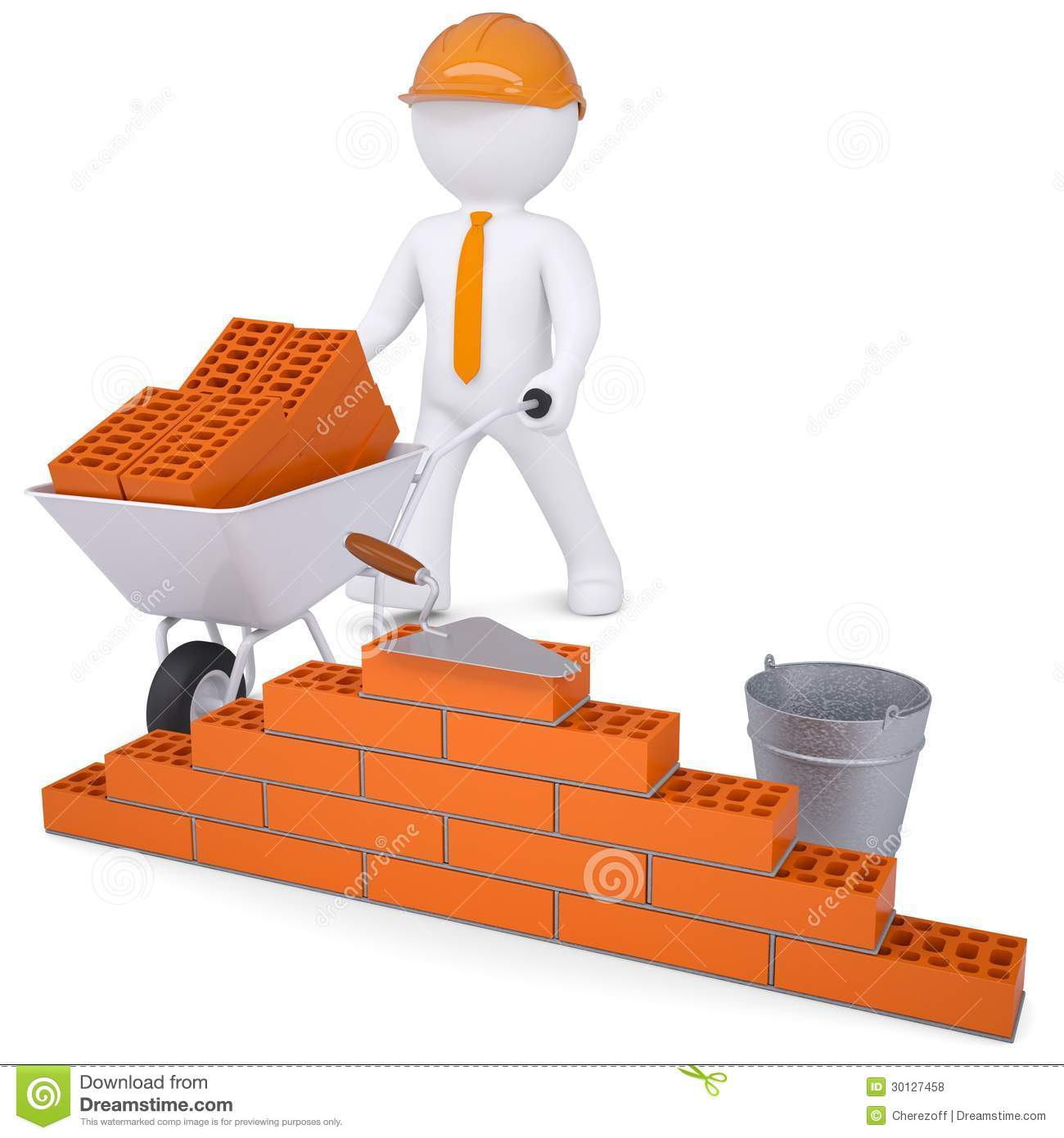 3d white man in a helmet builds a wall royalty free stock for 3d setup builder