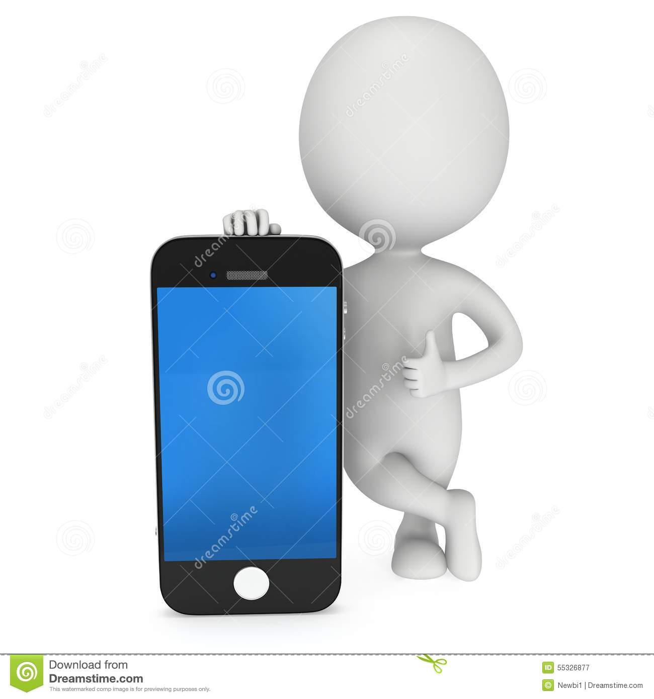 3d white man with smartphone stock illustration image 3d apps free
