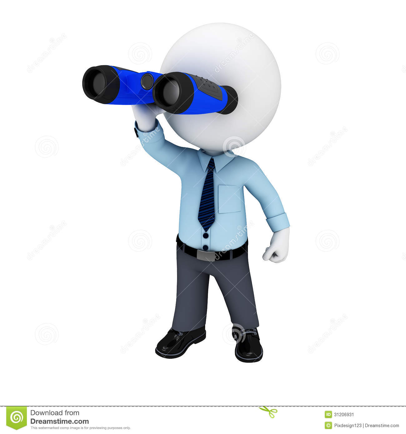 ... Image: 3d white people as service man with binoculars. Image: 31206931