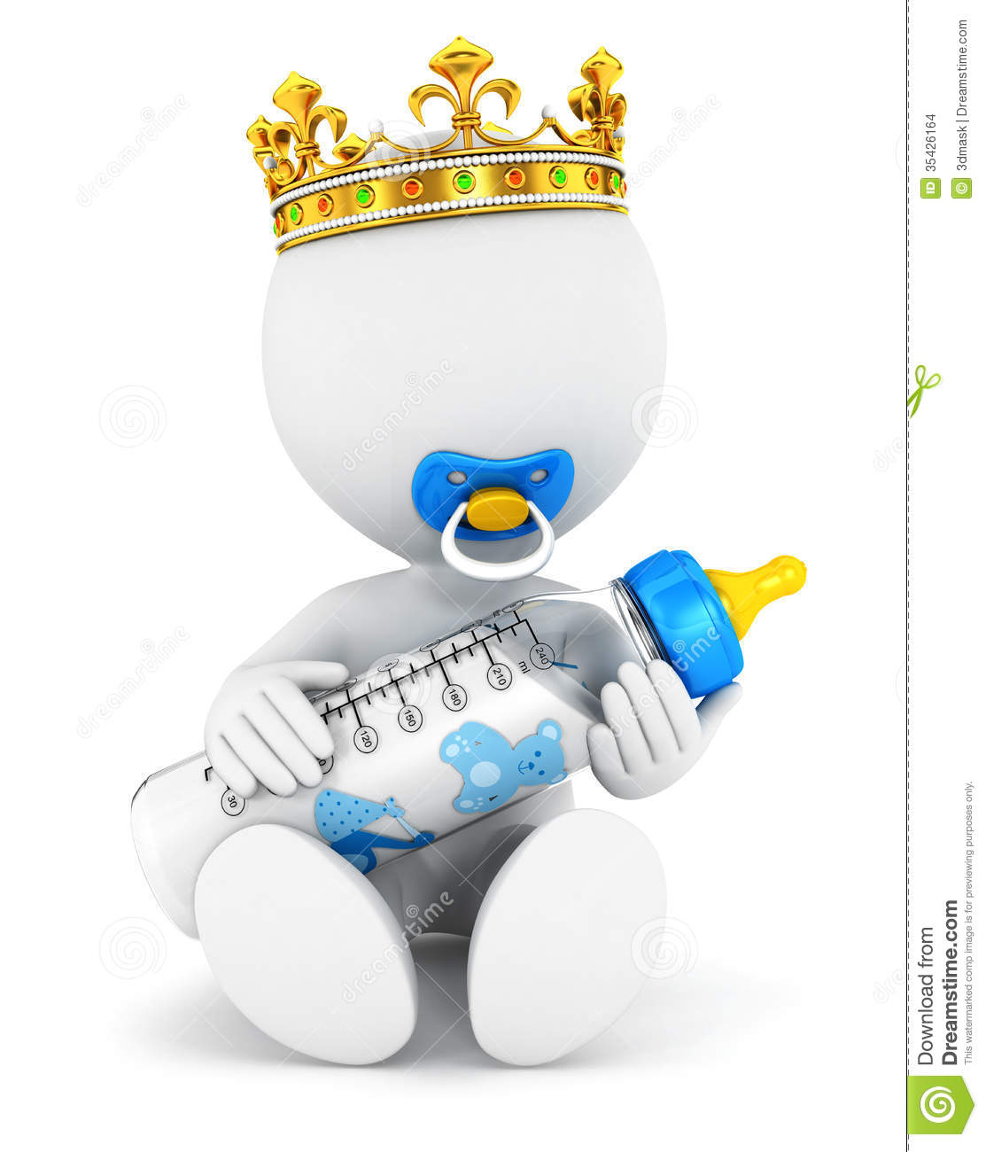 3d White People Baby King Stock Illustration. Image Of