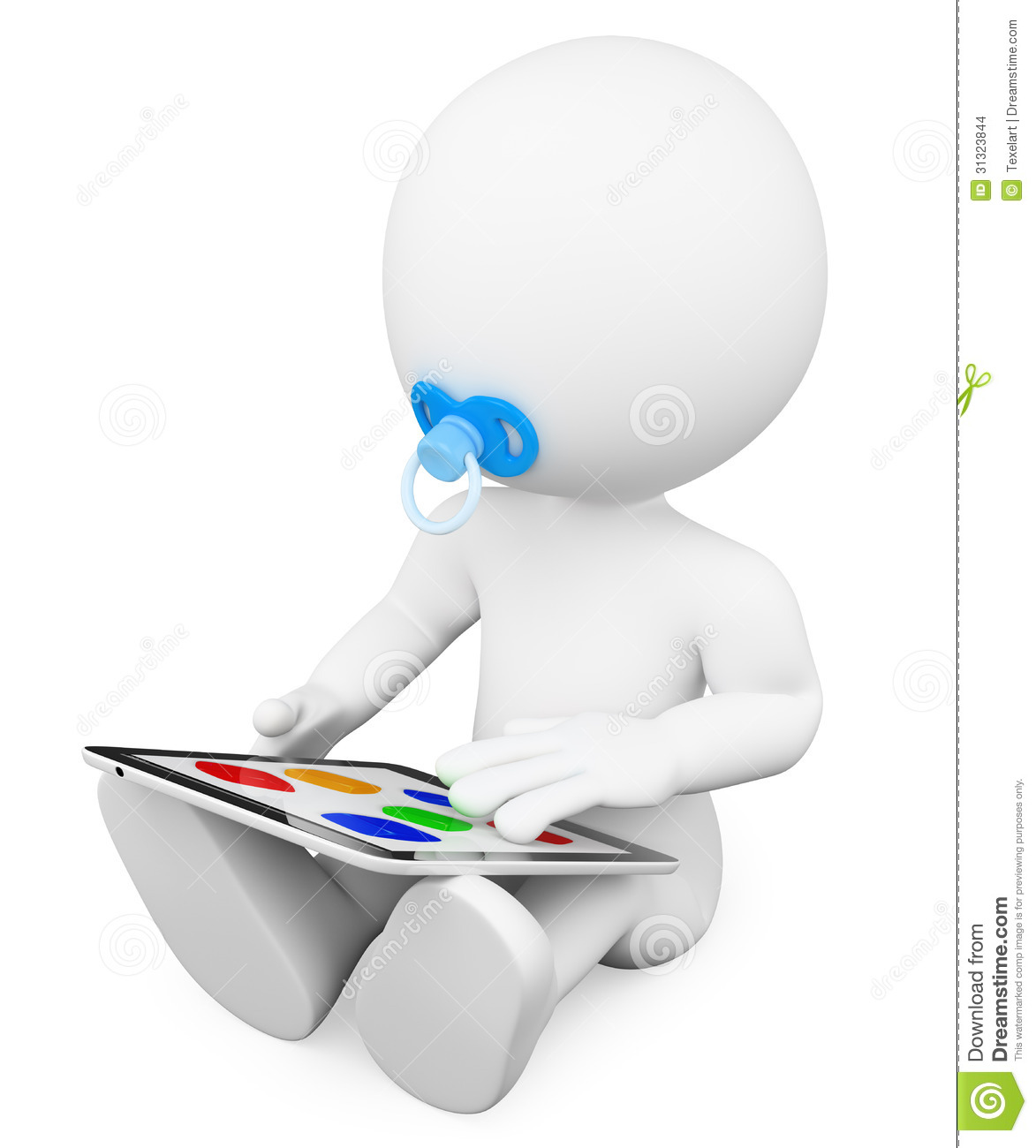 3D White People. Baby Playing With A Tablet Stock Images  Image