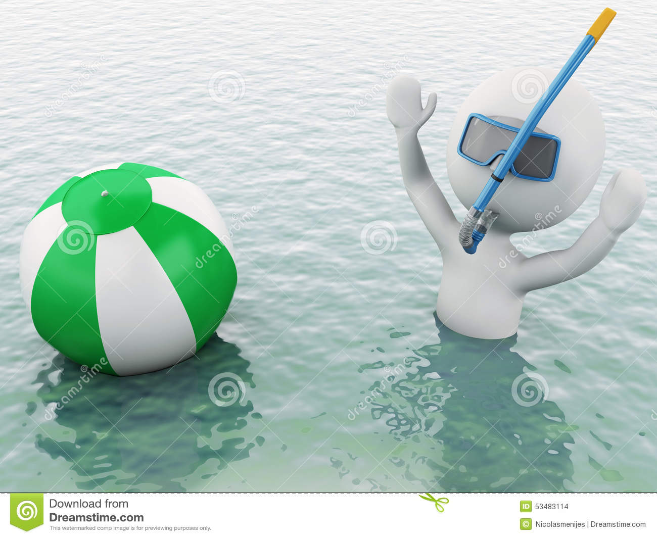 Beach Ball In Water 3d white people with beach ball in water. stock illustration