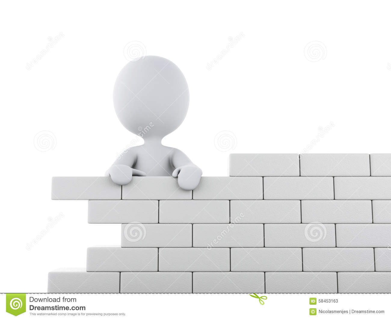 3d white people building a brick wall stock illustration for 3d setup builder