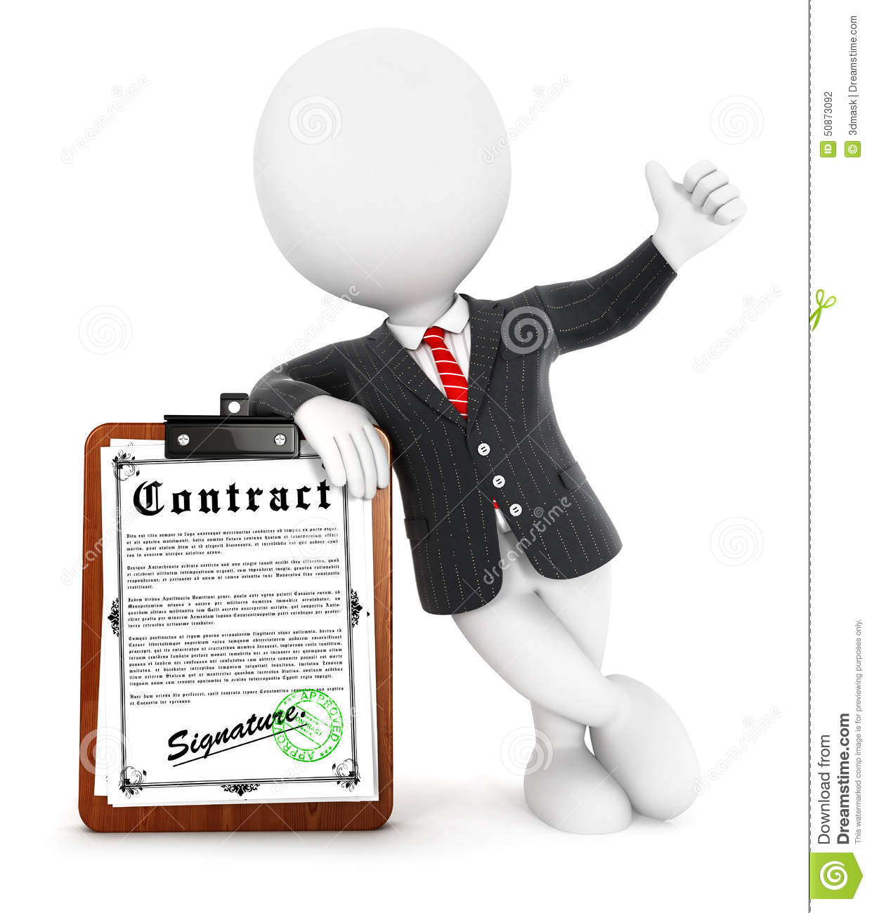 3d White People Businessman Contract Stock Illustration