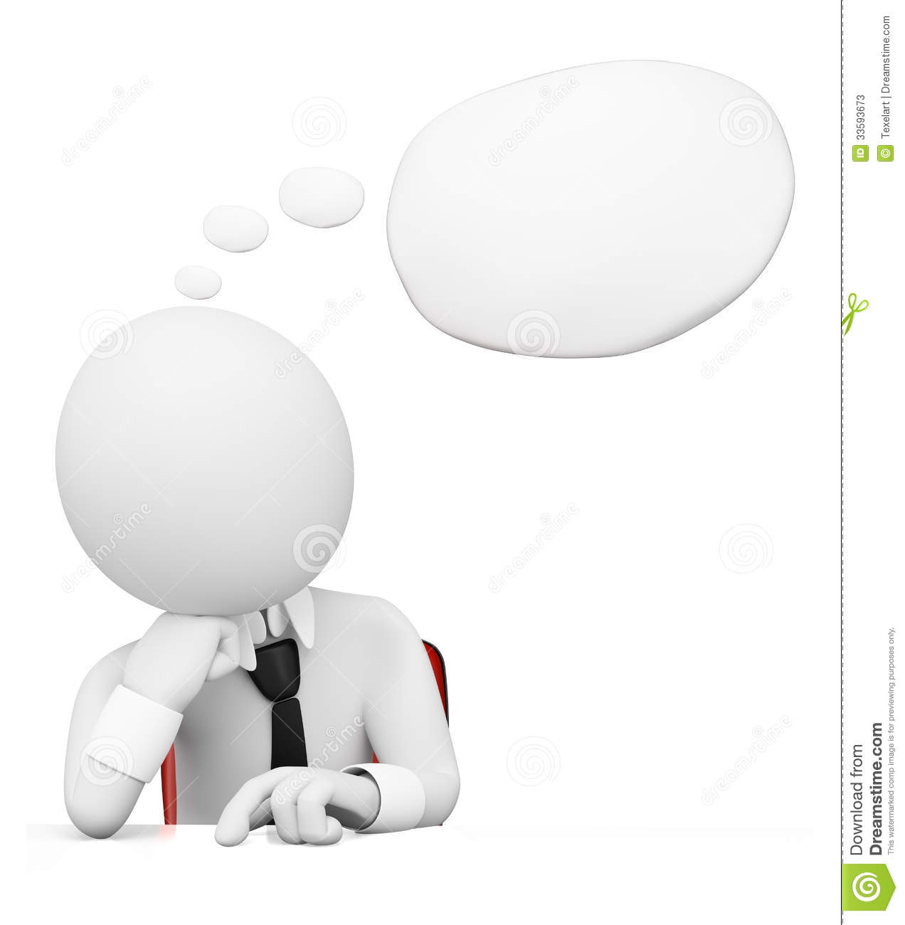 3D White People. Businessman With Thought Bubble Stock Photos - Image ...