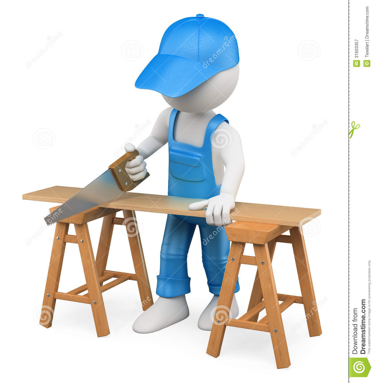 d white people carpenter cutting wood handsaw person background 31603357