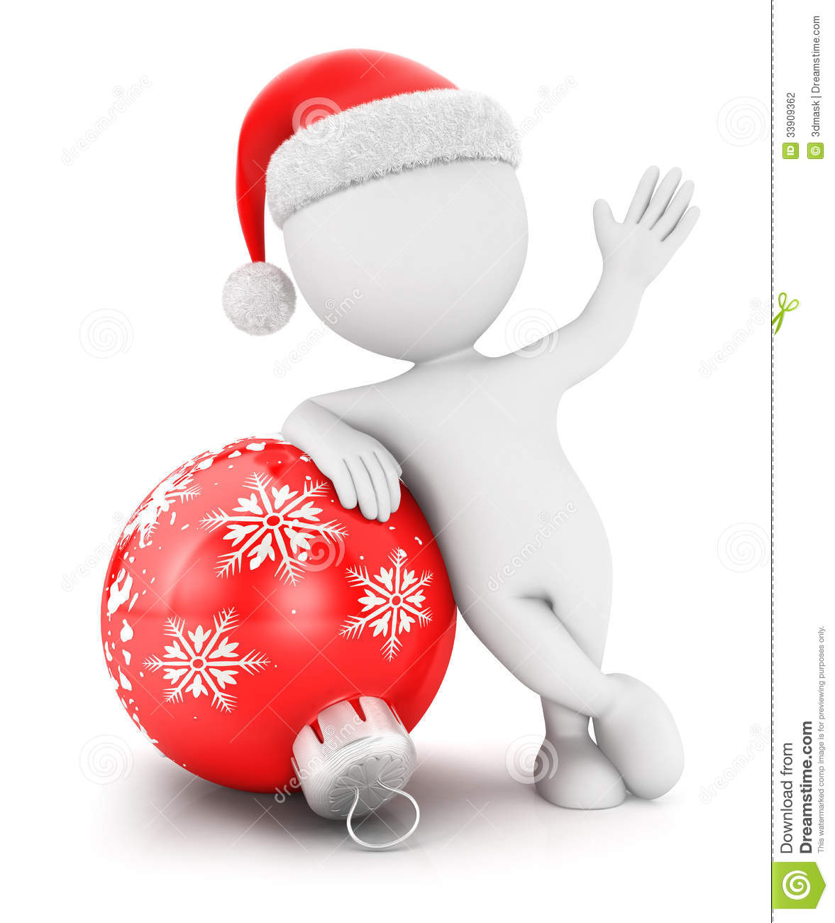 3d White People With A Christmas Bauble Stock Photography