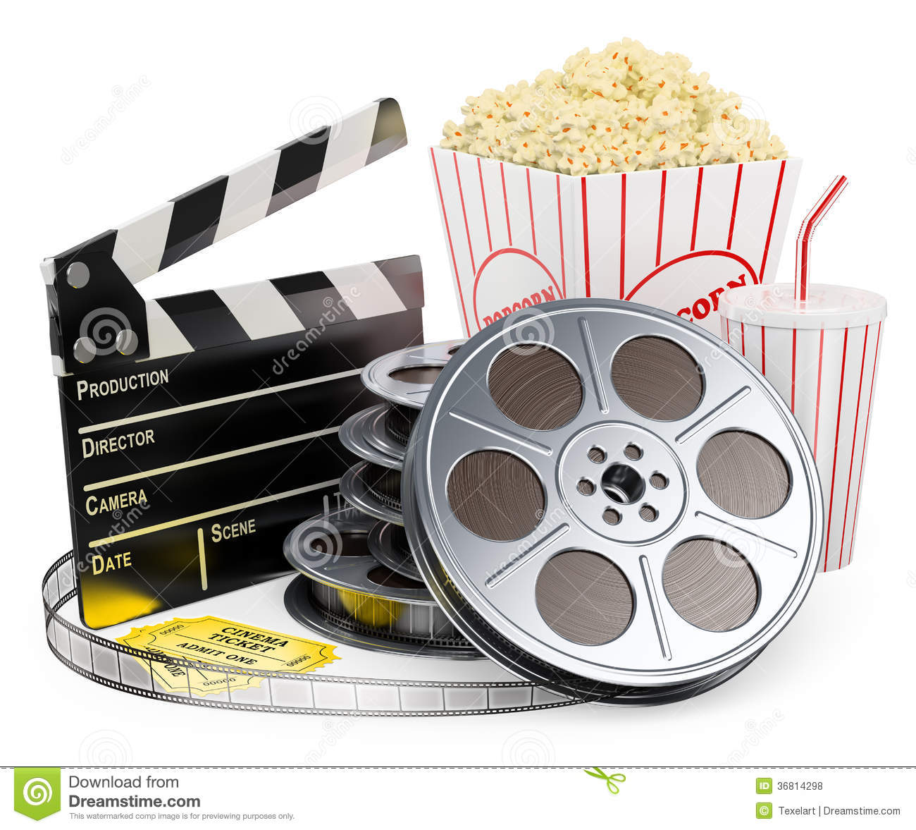 white people cinema clapper film reel drink popcorn and tickets white ...
