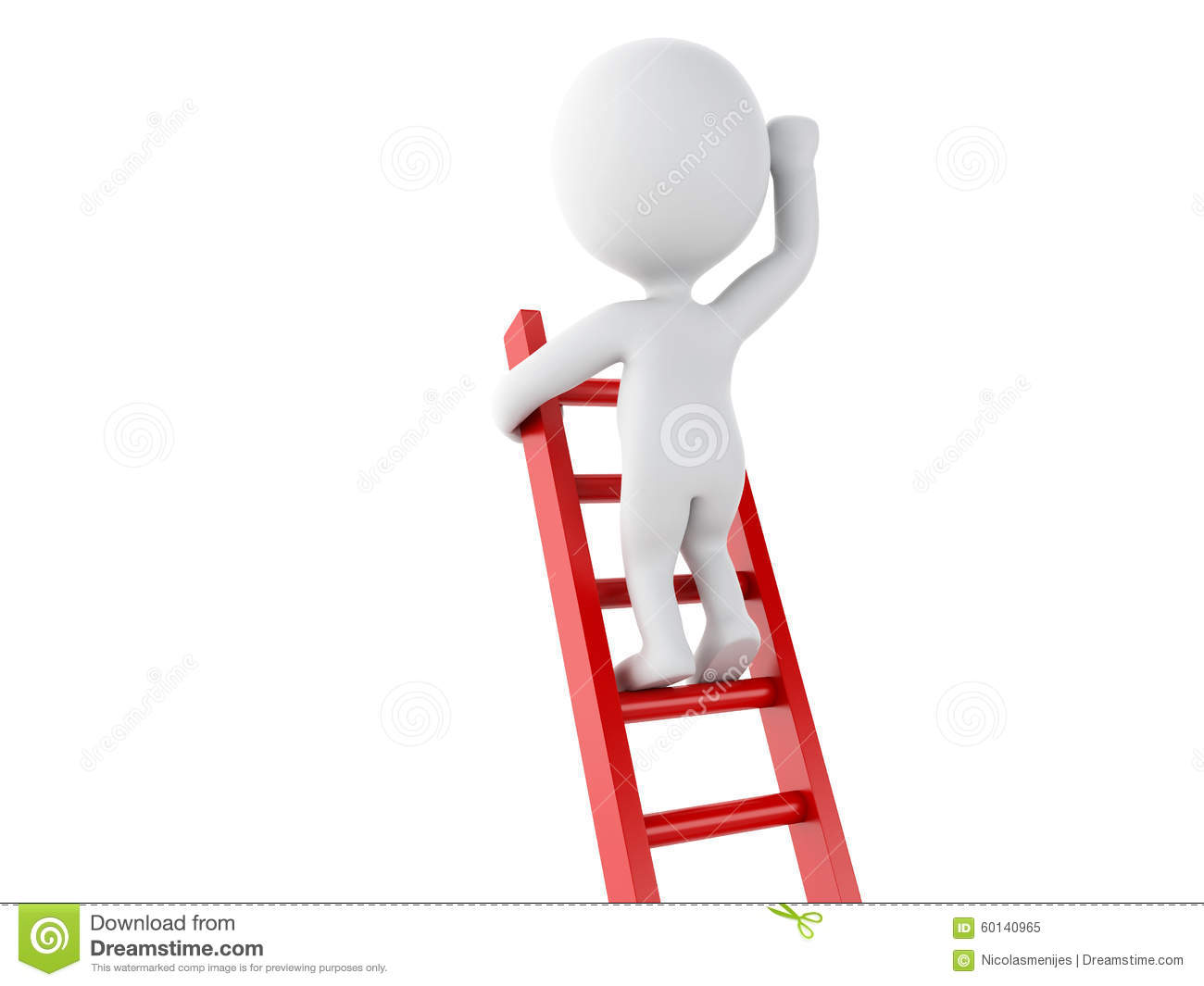 3d White People Climbing Ladder Success In Business