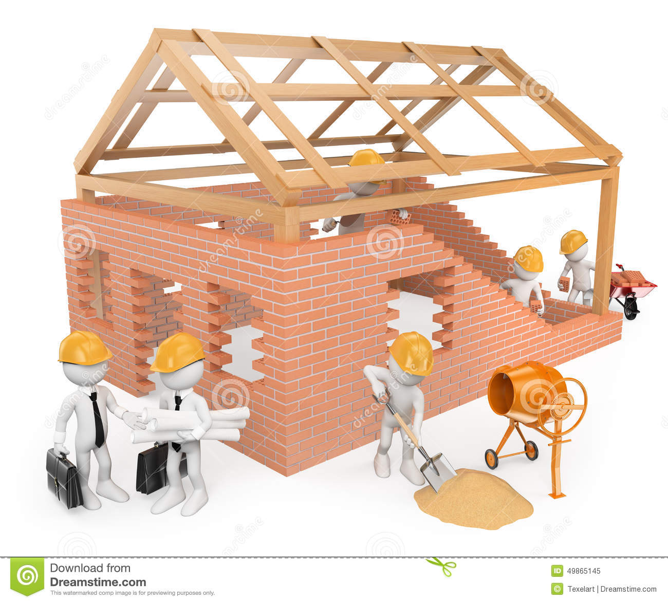 Building A House 3d white people. construction workers building a house stock