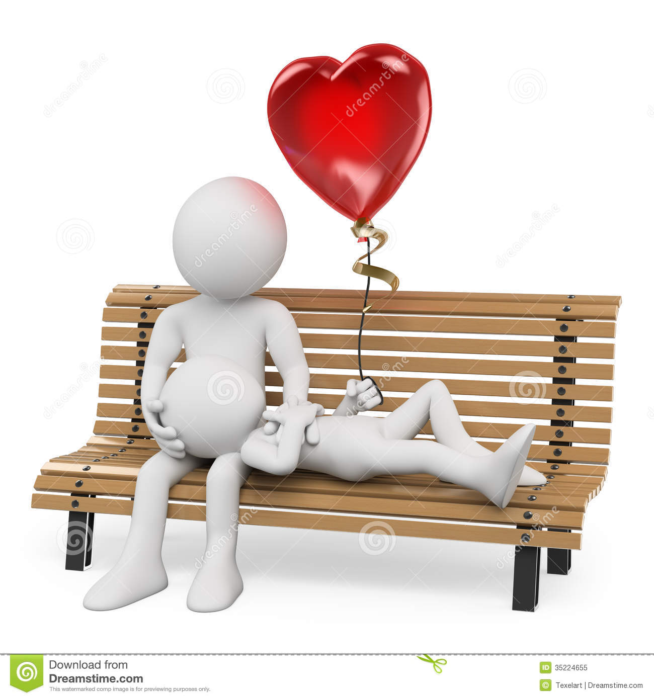 3d White People Couple In Love On A Park Bench Royalty