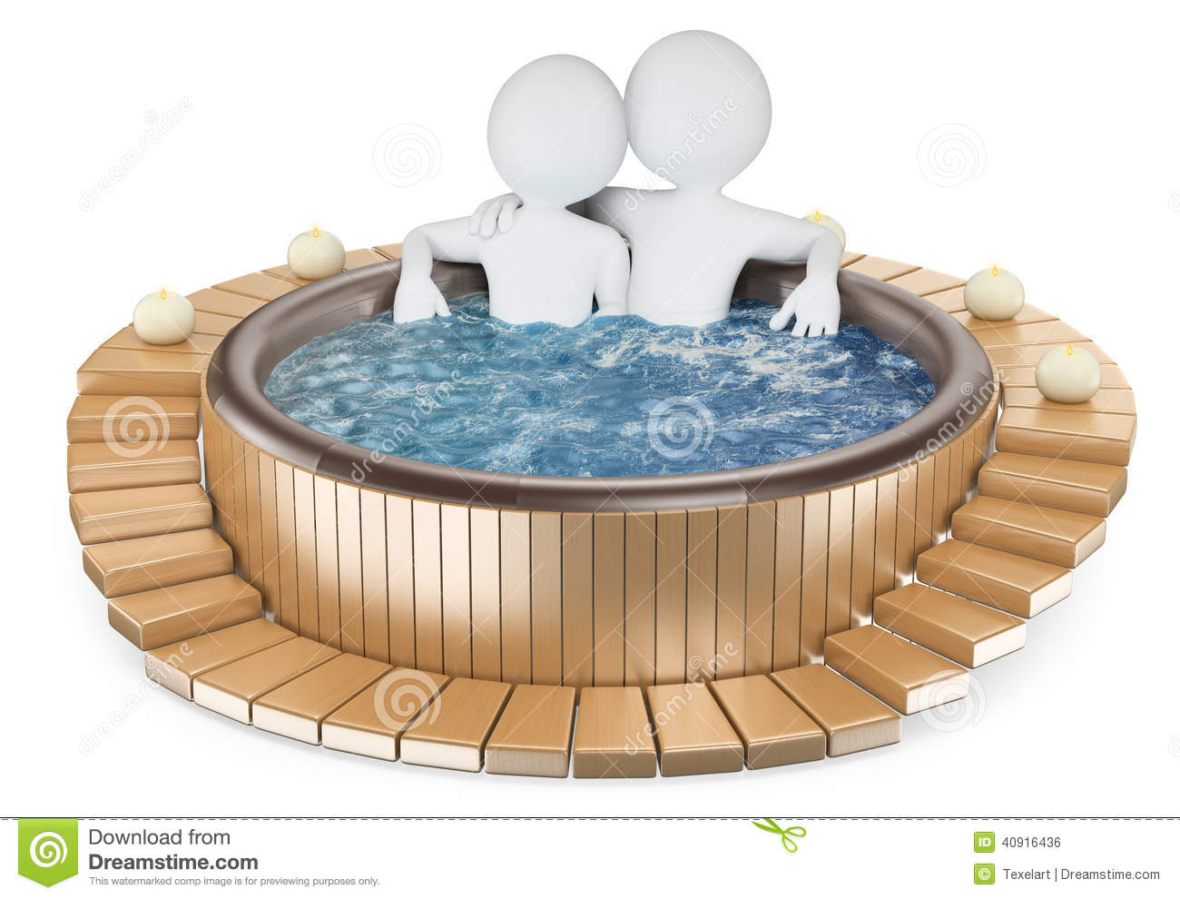 Couple relaxing in a wooden jacuzzi with candles White background ~ Jacuzzi En Bois