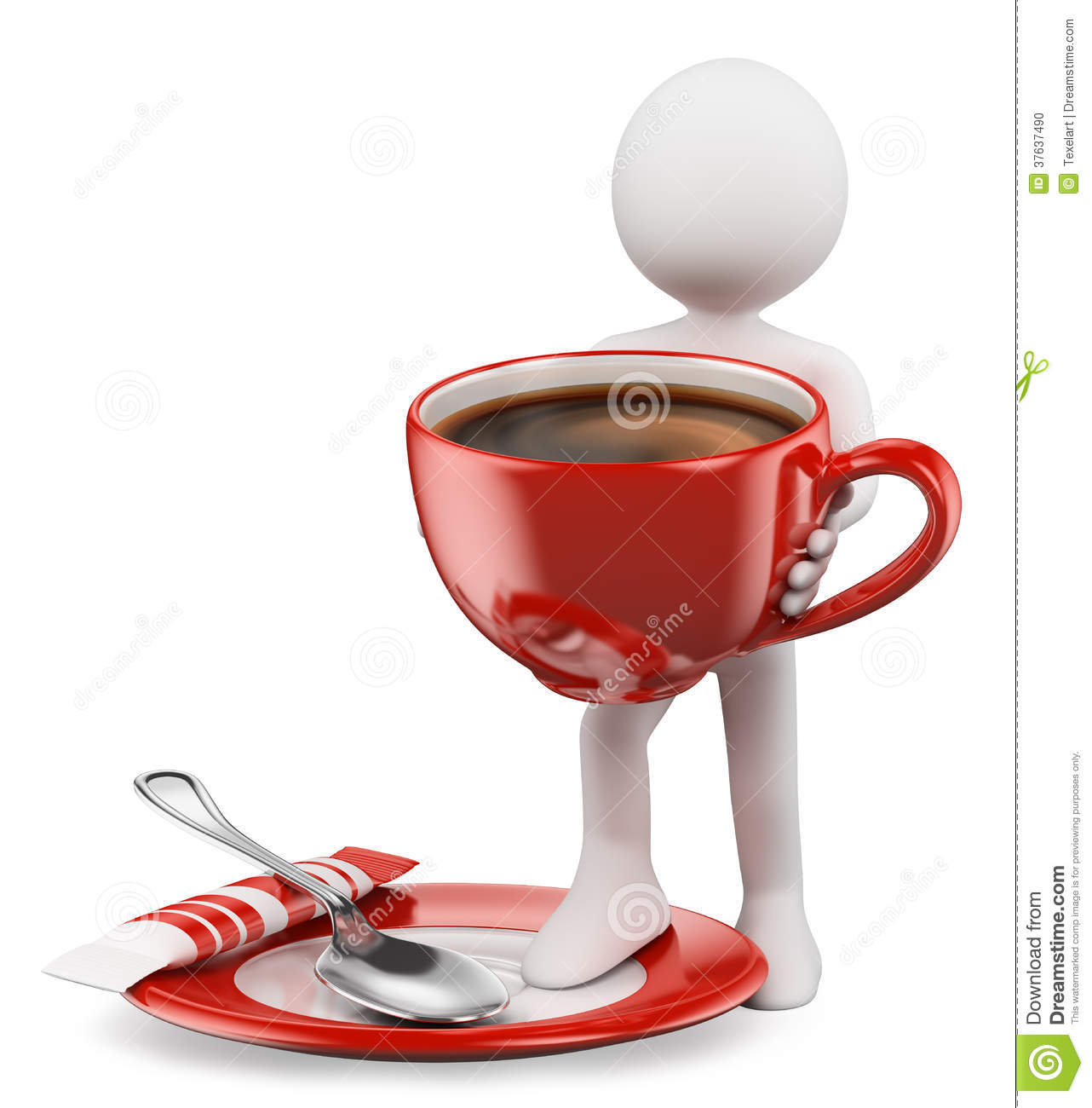 3D White People Cup Of Coffe Stock Photo Image 37637490