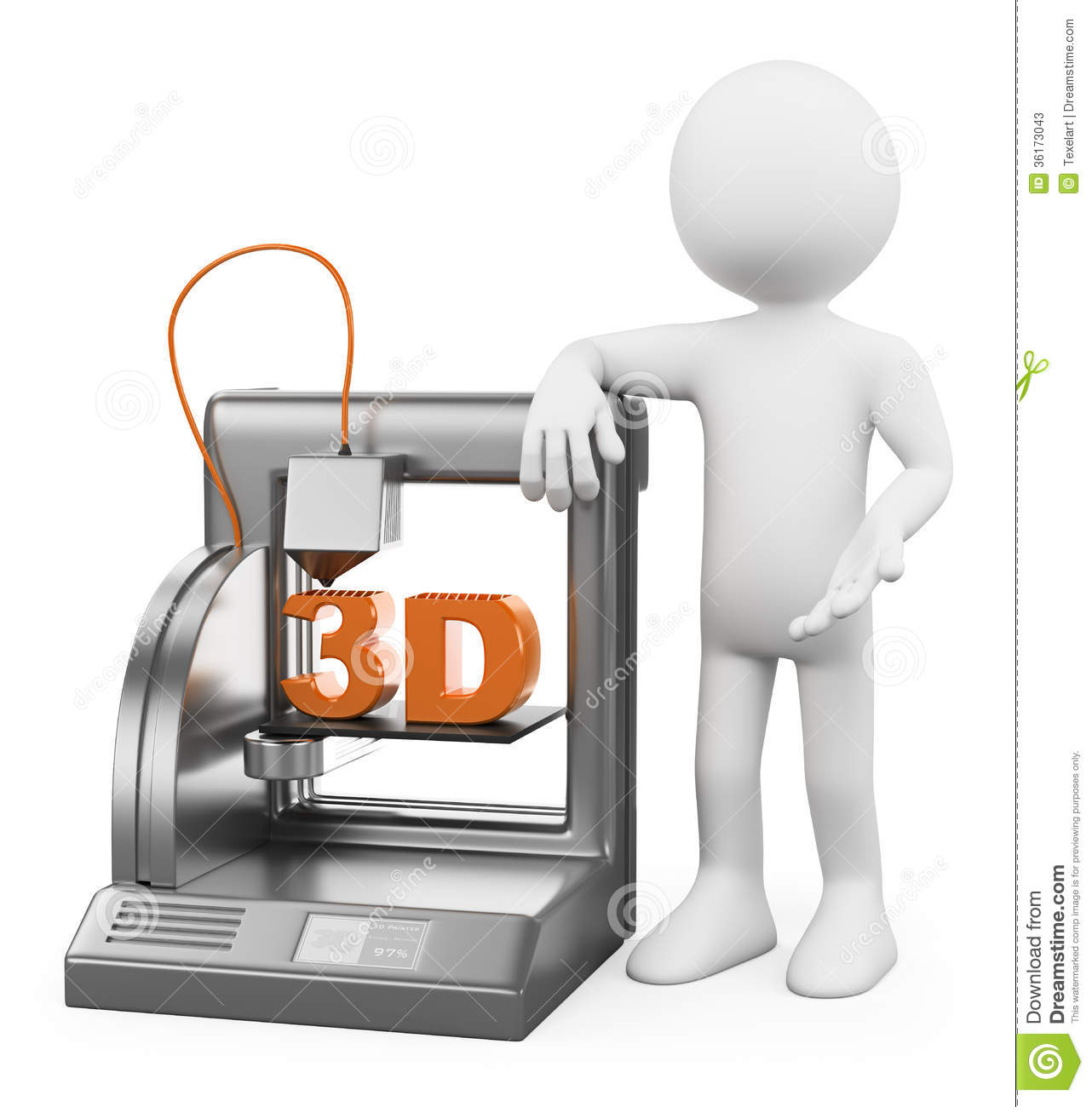 3d white people. 3D printer fused deposition working. White background ...