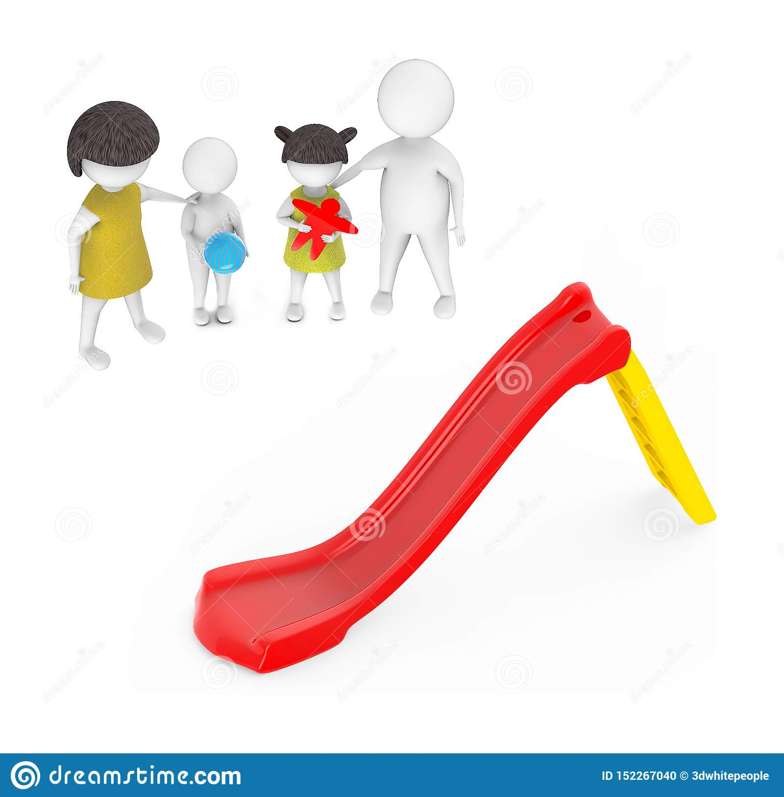 3d white people , family ,father,mother, son, daughter -red and yellow slider play