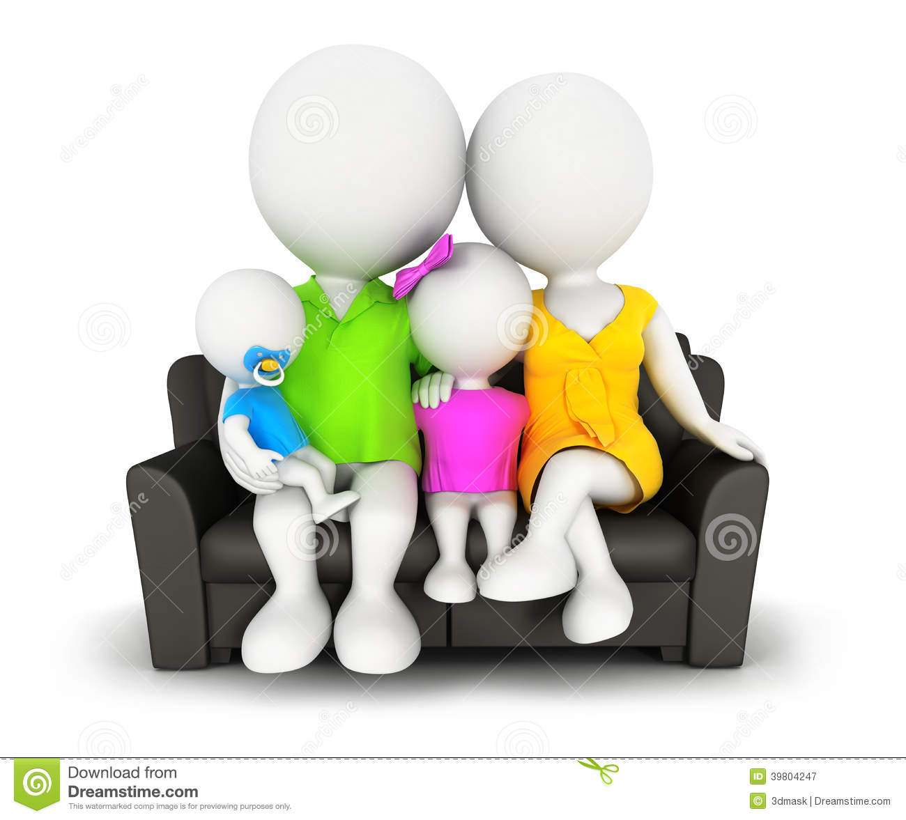 Car Credit Center >> 3d White People Family Sitting On Sofa Stock Illustration - Image: 39804247