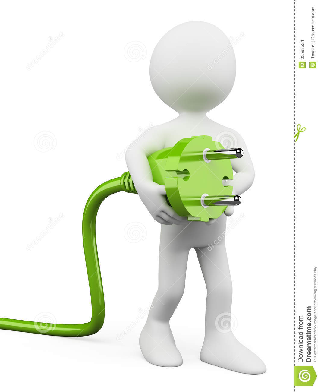 3d white people green plug stock images image 33593634 - Stickers prise de courant ...