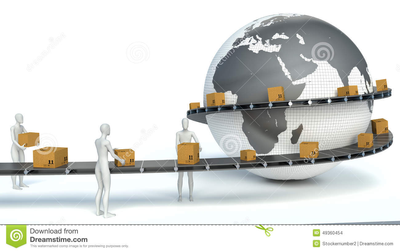3d White People International Delivery Service Stock