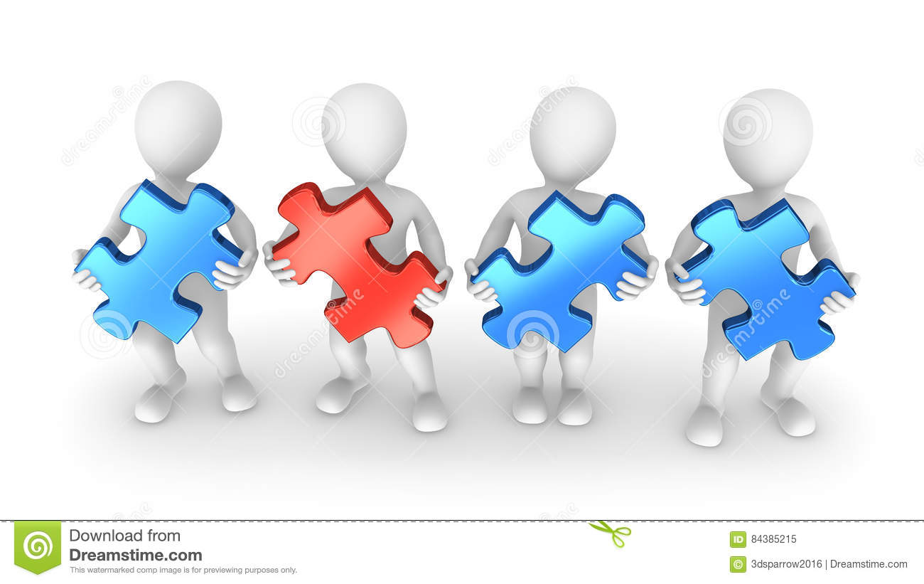 3d White People With Jigsaw Puzzle Pieces Stock Illustration