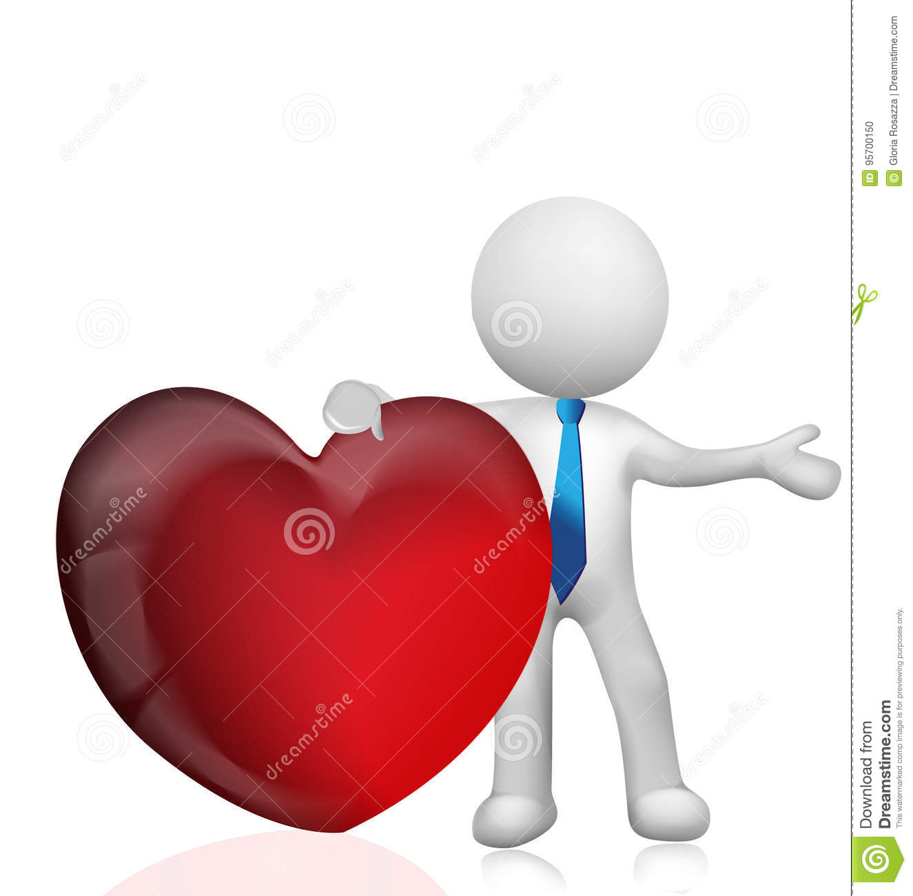 3D white people man holding a heart love