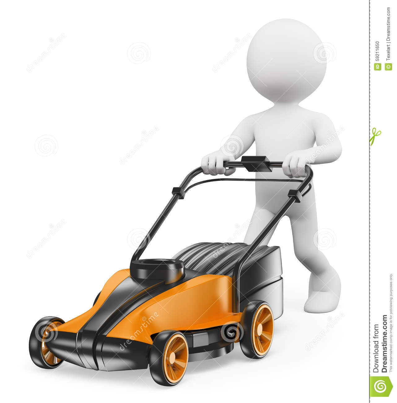 3d White People Man With A Lawn Mower Stock Illustration