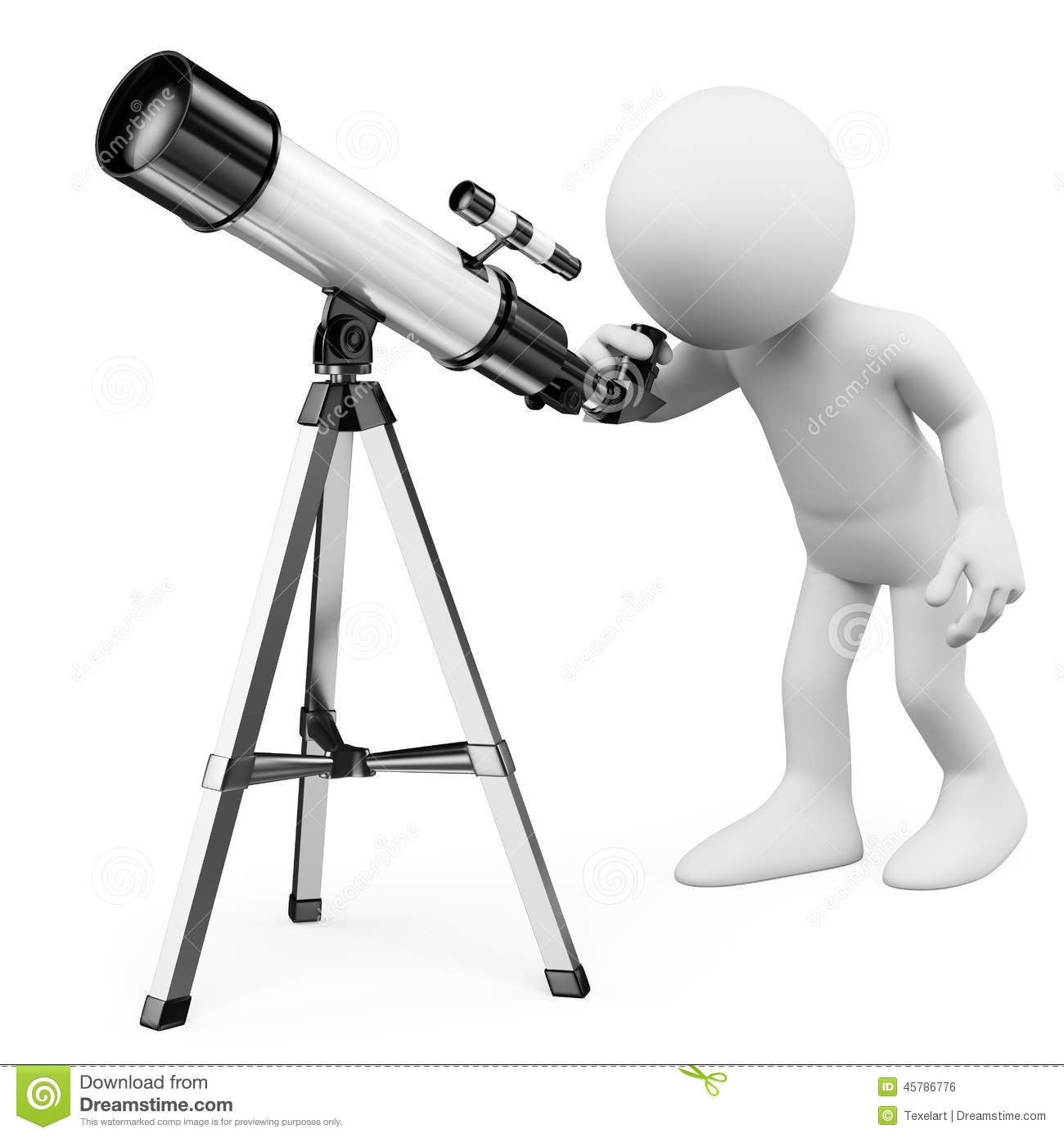 3D White People. Man Looking Through A Telescope Stock ...