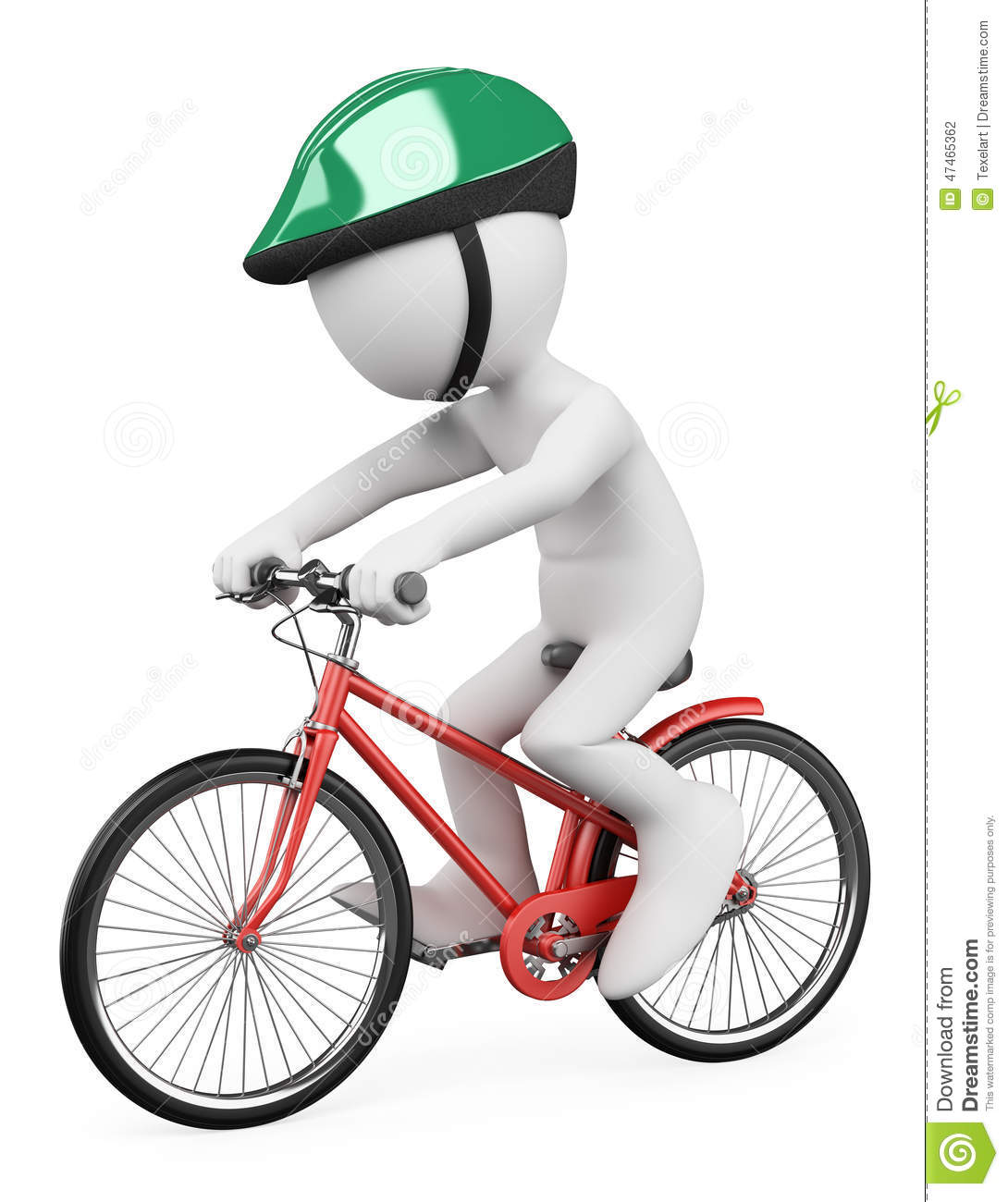 3D White People. Man Riding Bicycle Stock Illustration ...