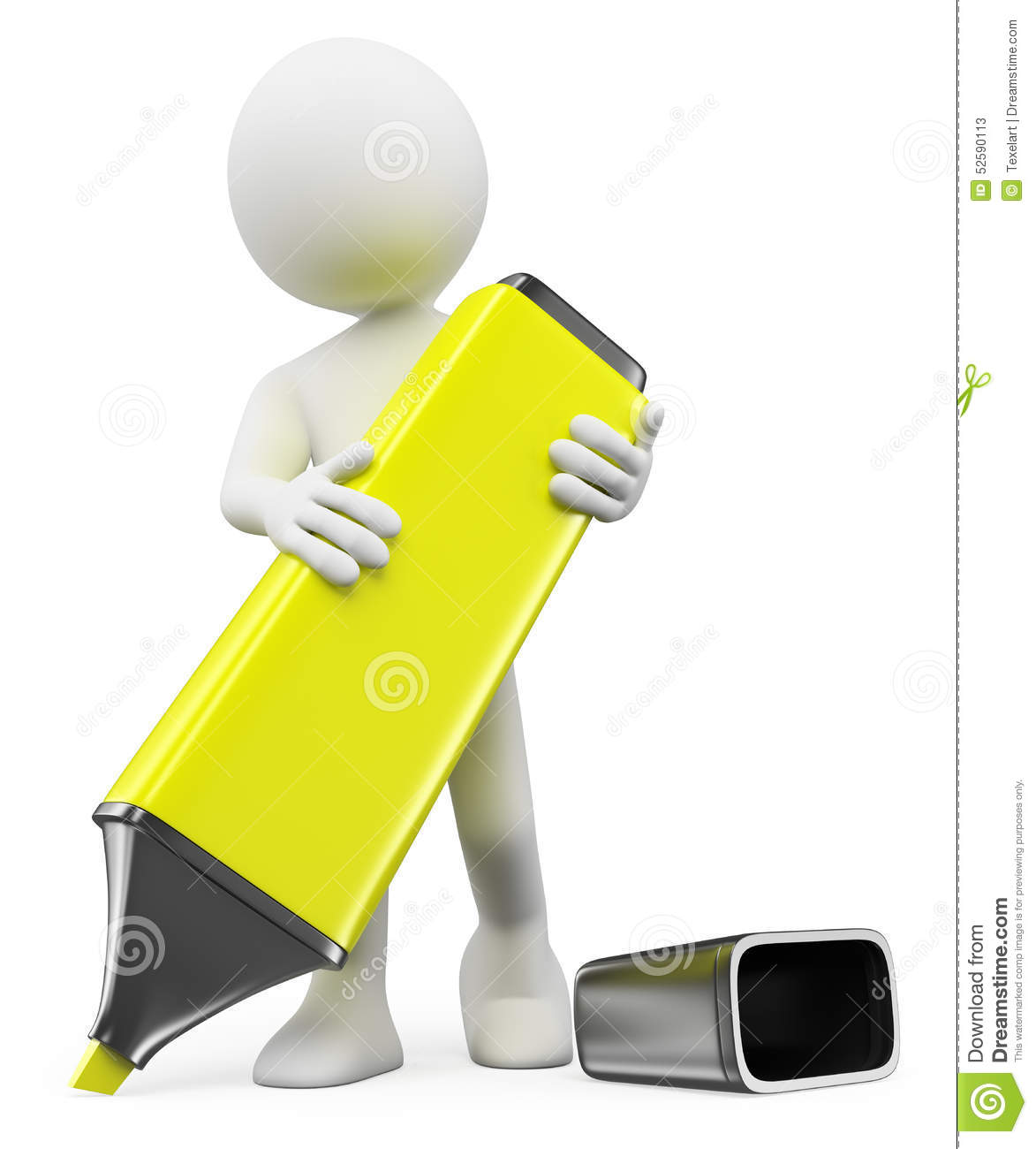 Download 3D White People. Man Writing With A Highlighter Stock Illustration - Illustration of draw, highlighter: 52590113