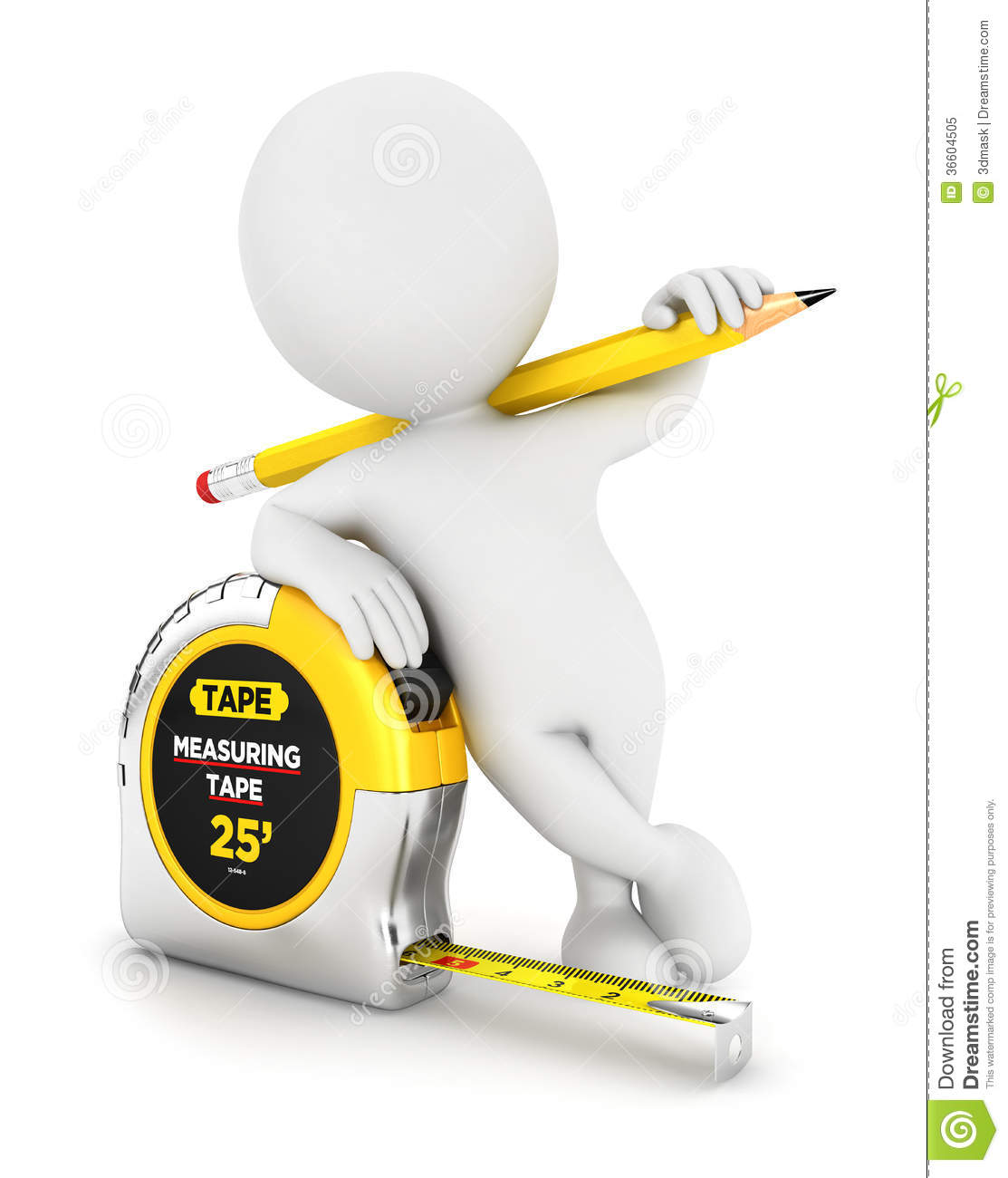 Design Blueprints 3d White People Measuring Tape Royalty Free Stock Photo