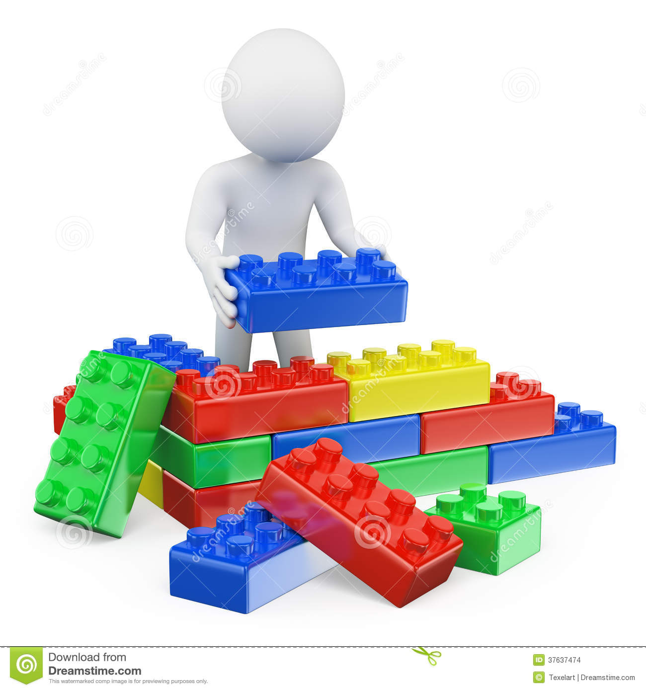 ... . Man building a house with plastic toy blocks. White background