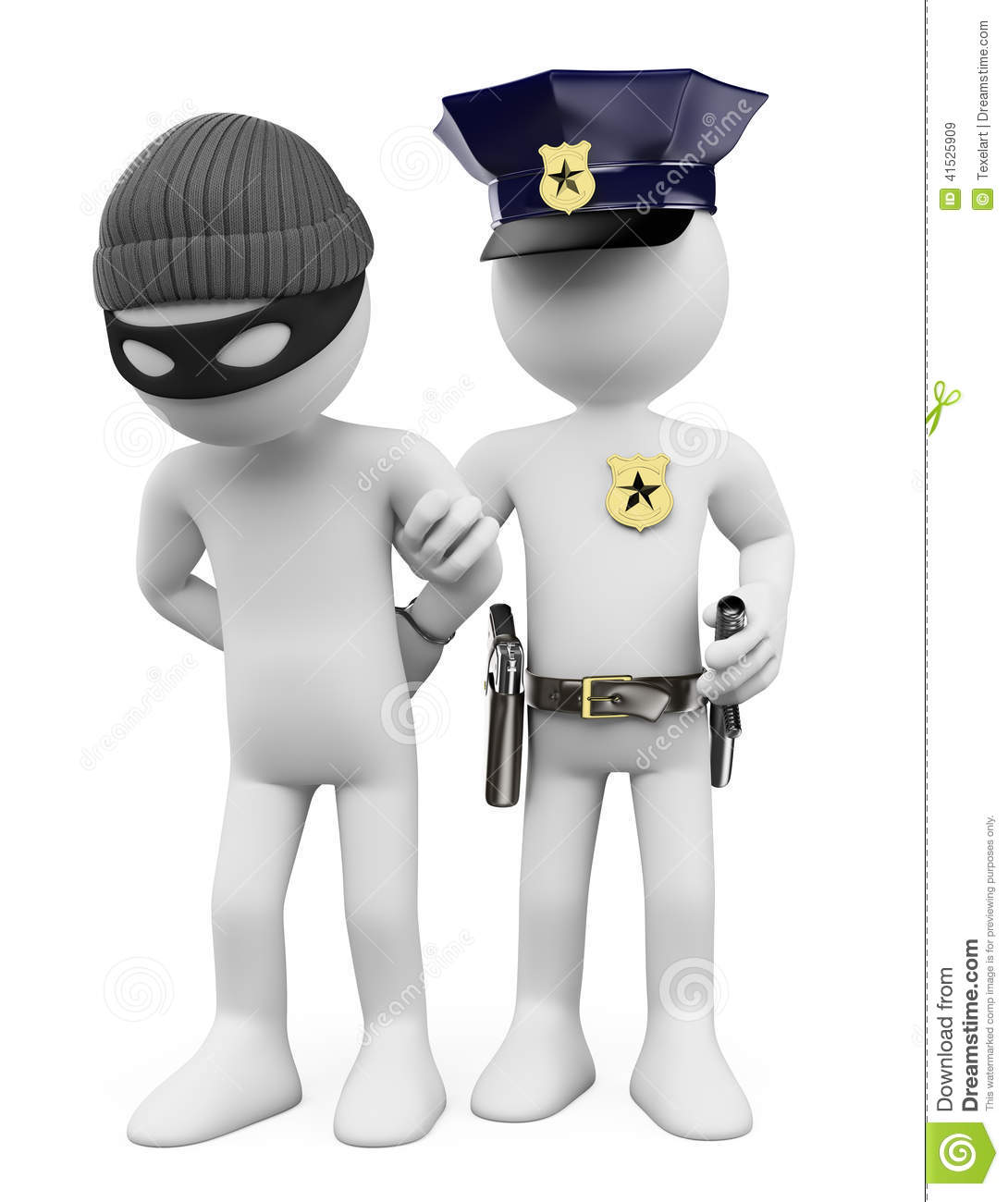 3d White People Police And Thief Stock Illustration