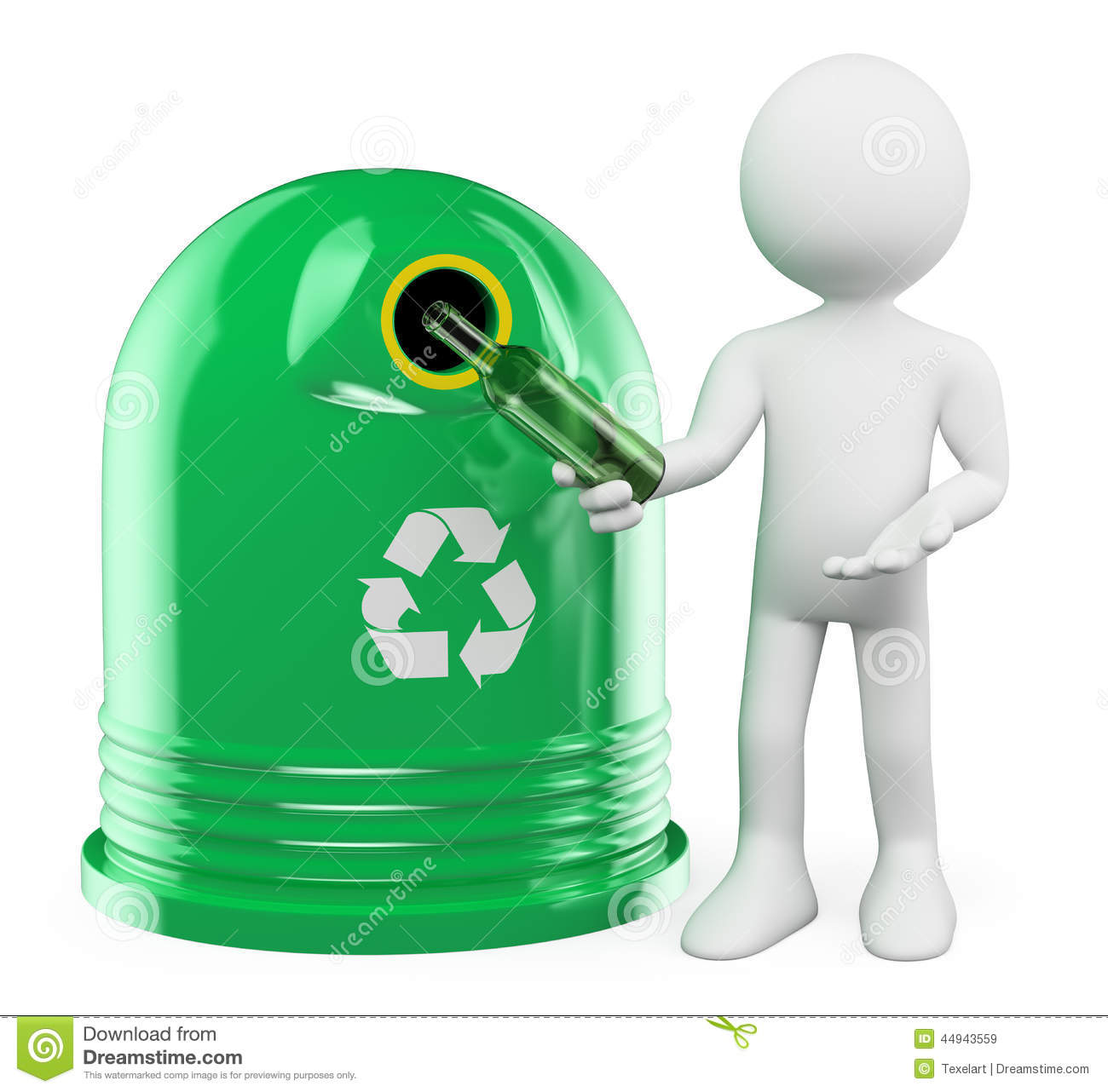 3d white people recycling glass container stock