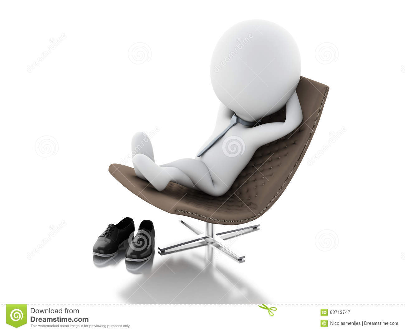 3d White People Relax White Background Stock Photography
