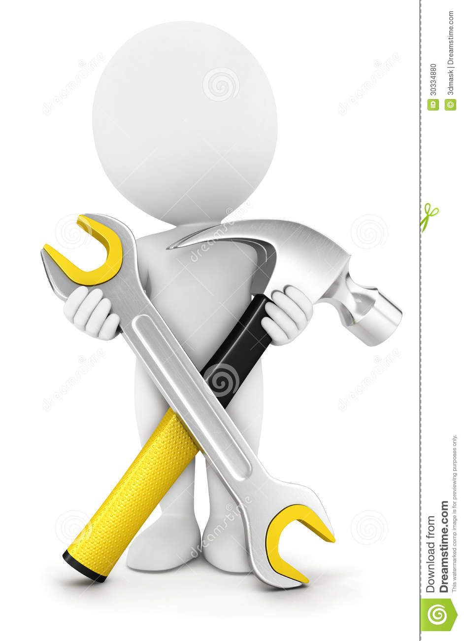 3d white people with repair tools stock illustration for Outil 3d