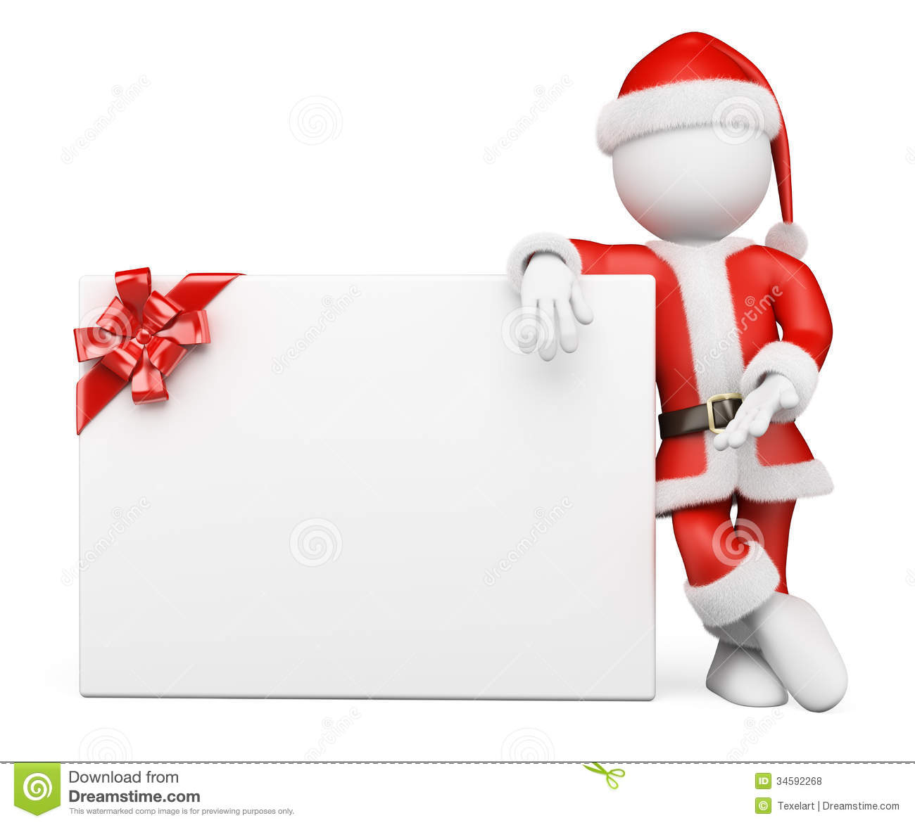 D white people santa claus with blank banner stock