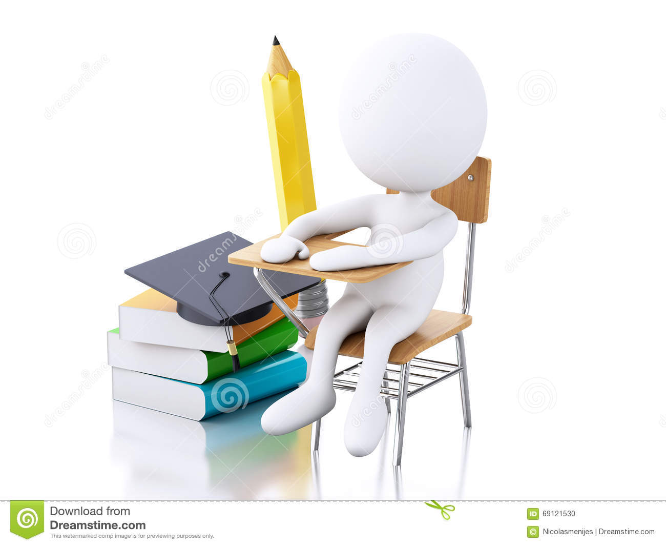 3d White People With School Desk And Education Objects
