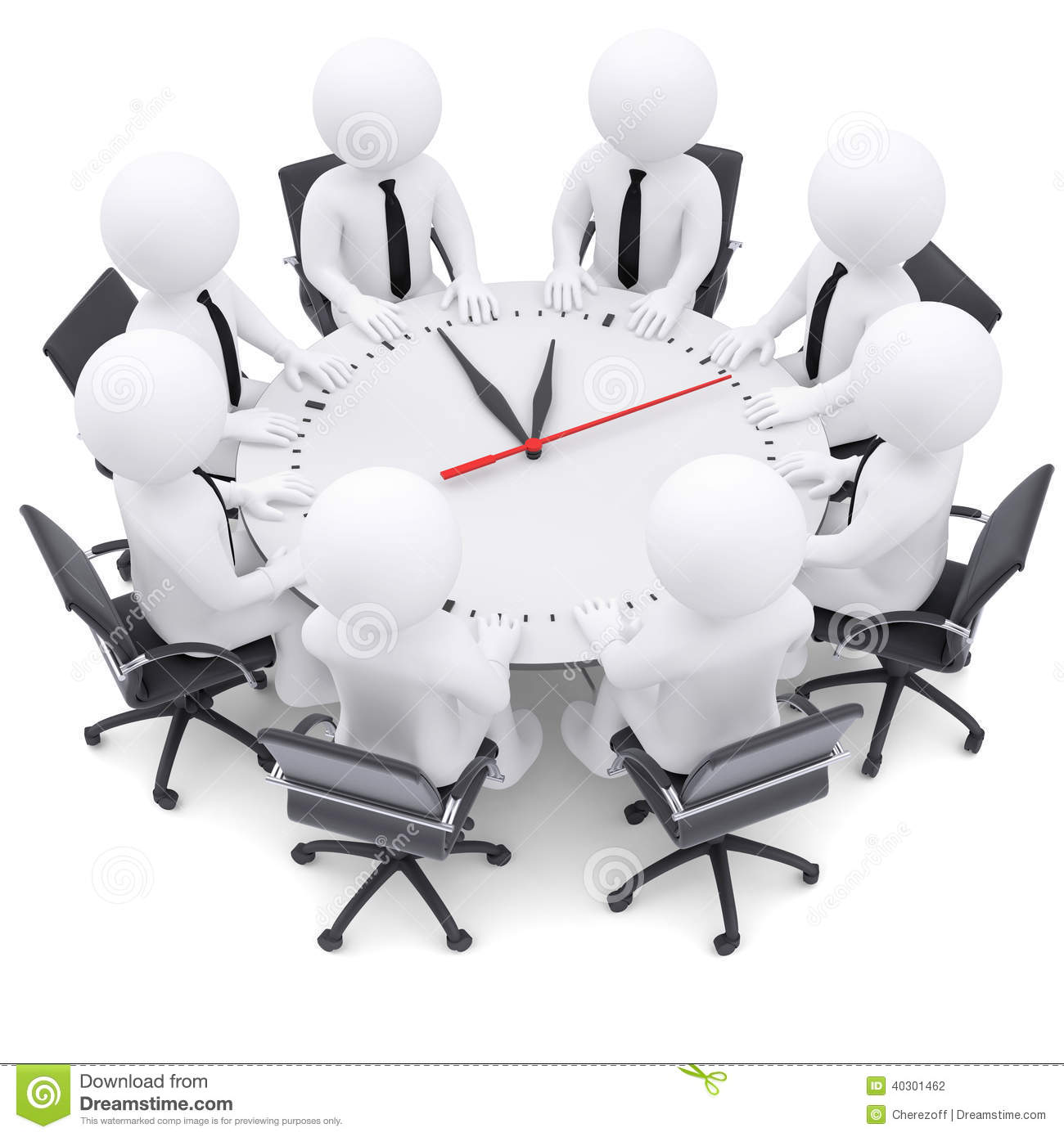 3d white people sitting at the round table stock - Table ronde 4 personnes ...