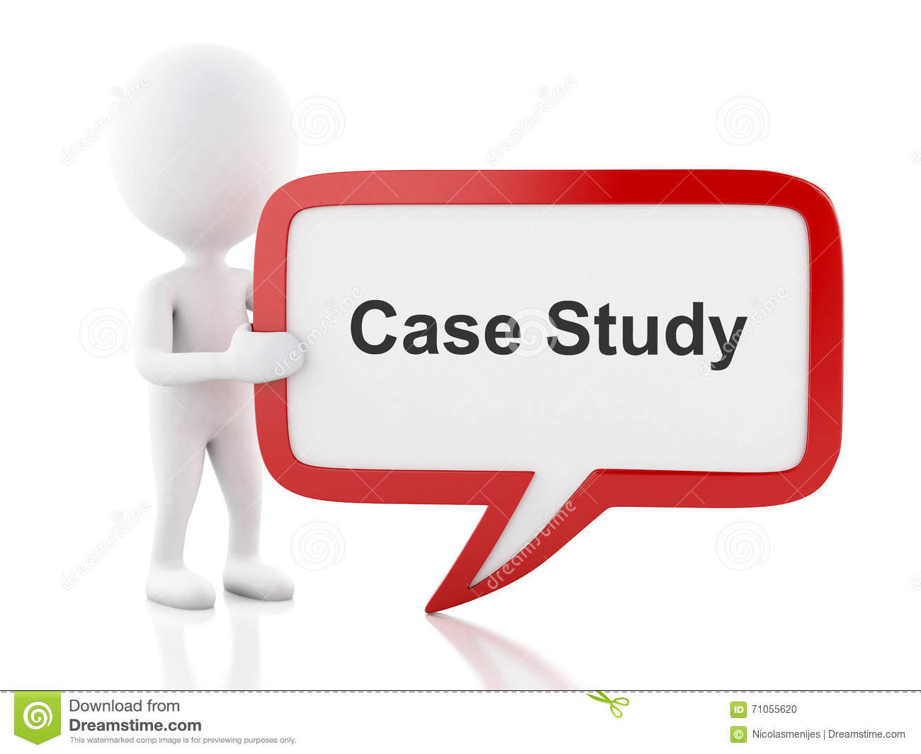 3d White people with speech bubble that says Case Study.
