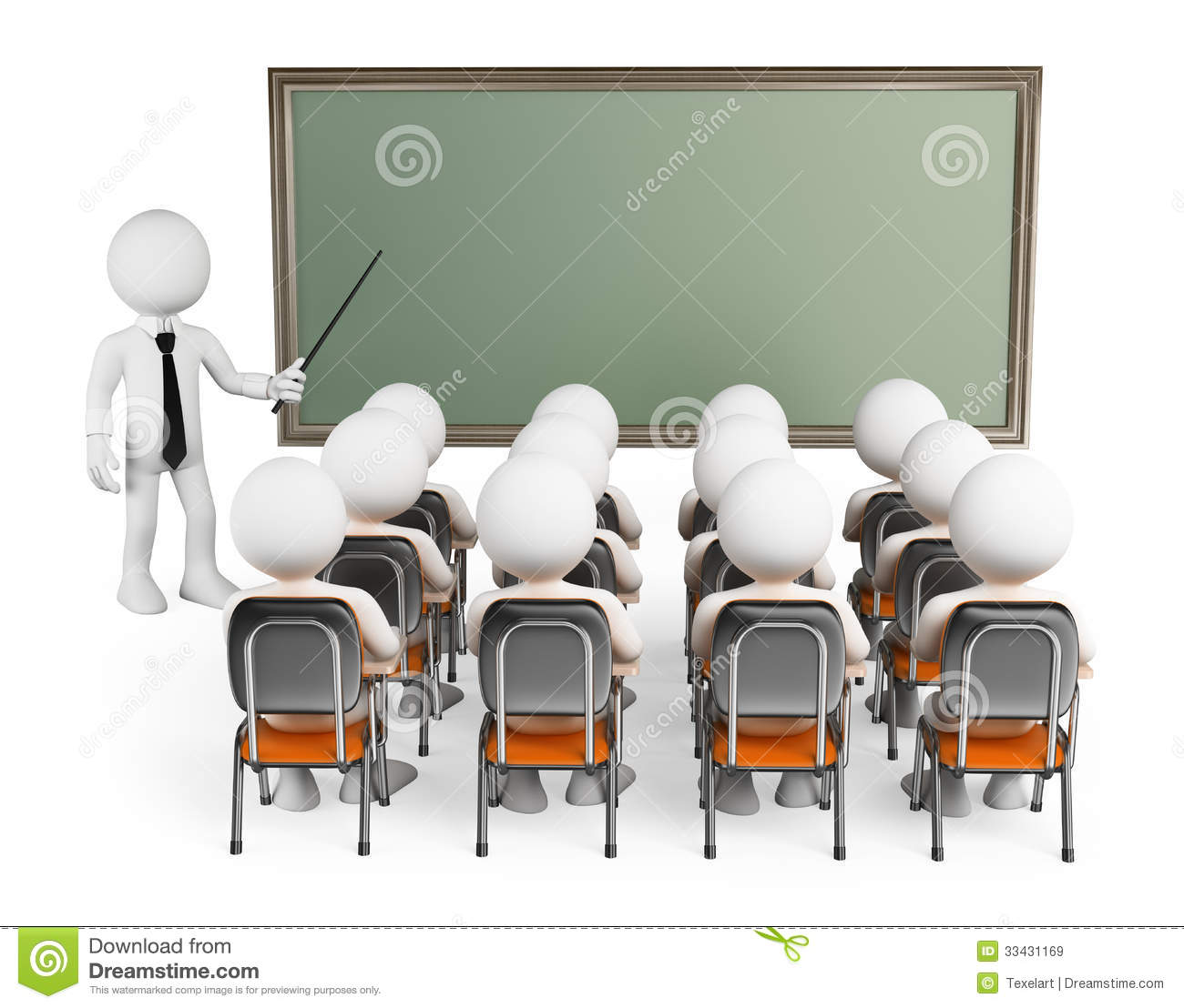 3d White People Students In Class Royalty Free Stock