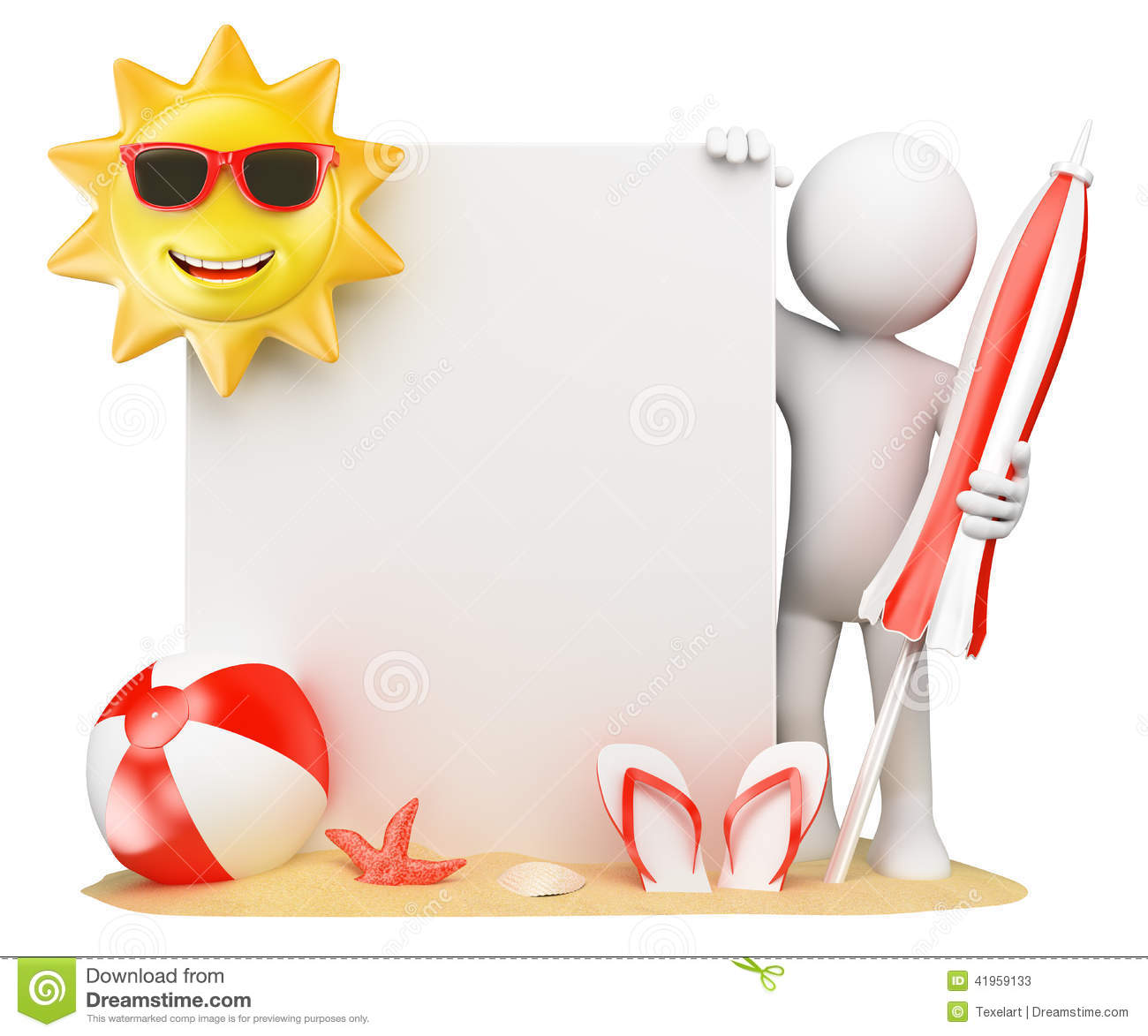 3D White People. Summer Background With Blank Paper Stock