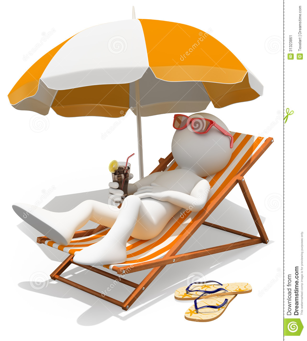 3d White People Sunbathing On A Lounger Stock Image