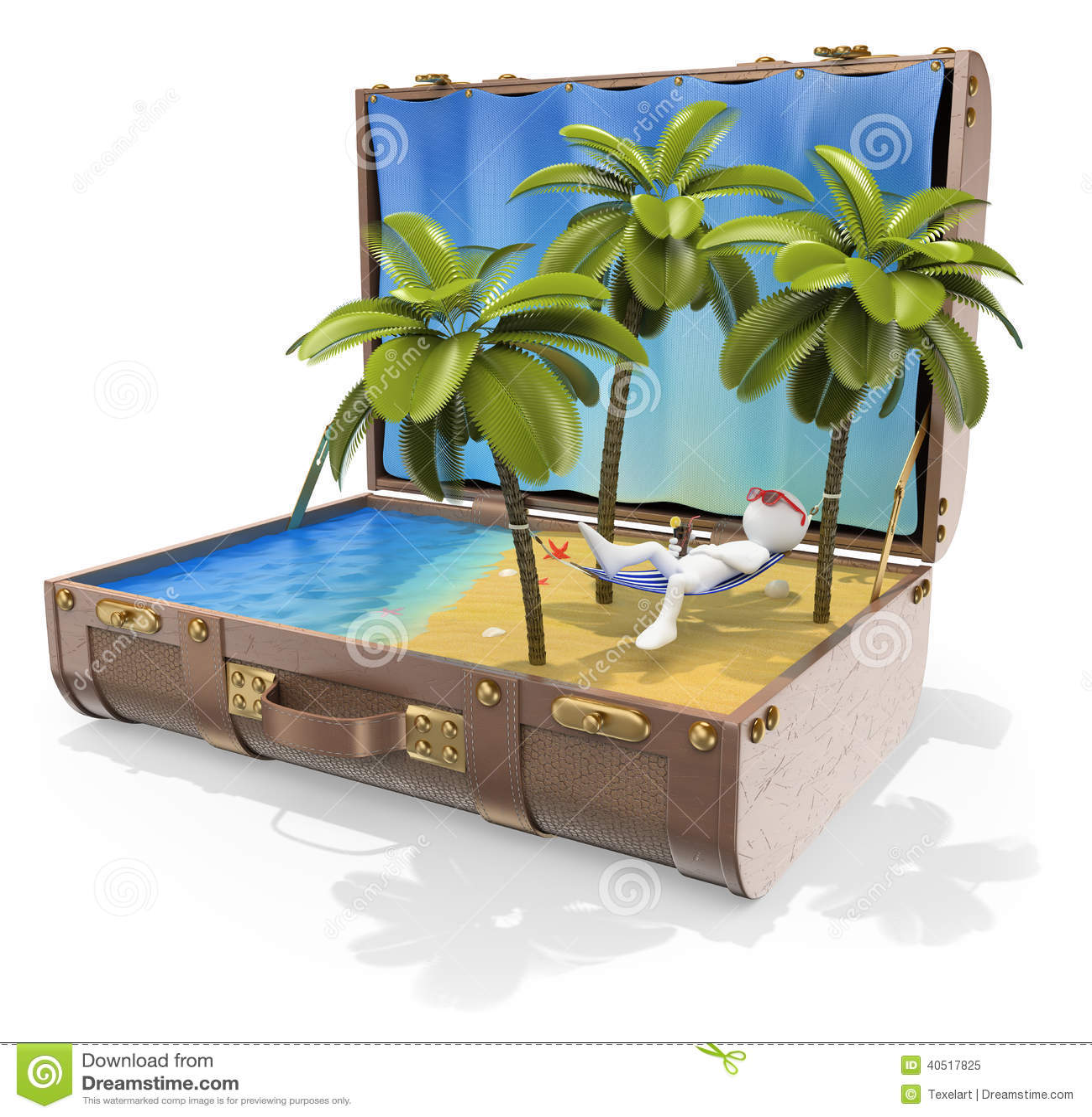 3D white people. Travel Destinations. Caribbean islands